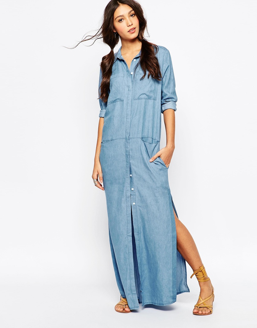 Belted maxi shirt dress