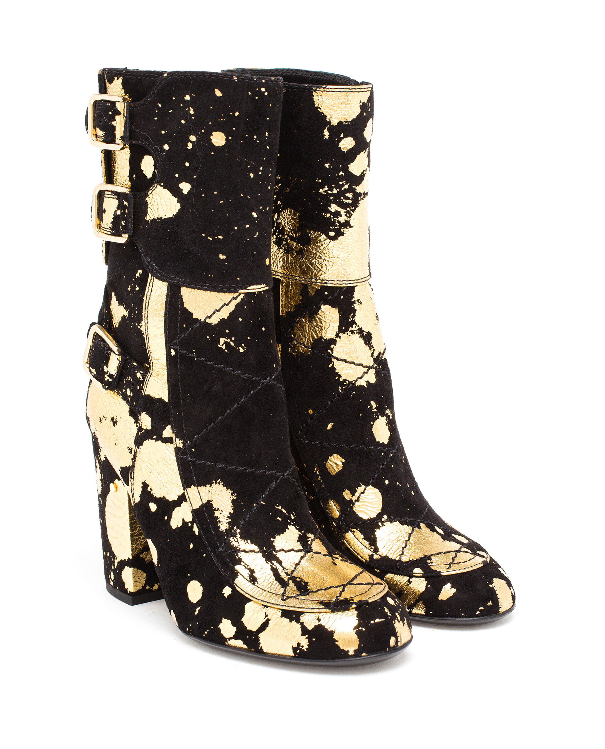 laurence dacade suede merli with gold paint spatter in