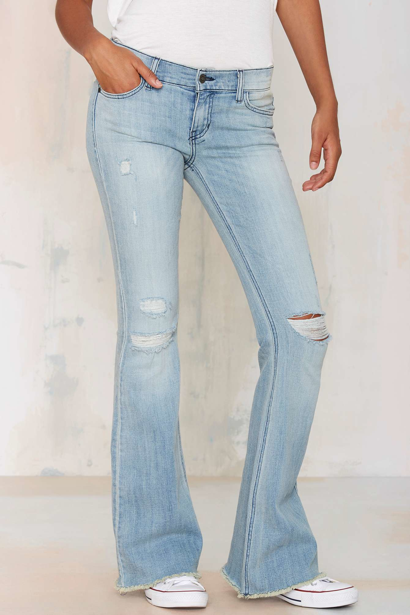 Nasty gal Stevie Flare Jeans - Light Wash in Blue | Lyst