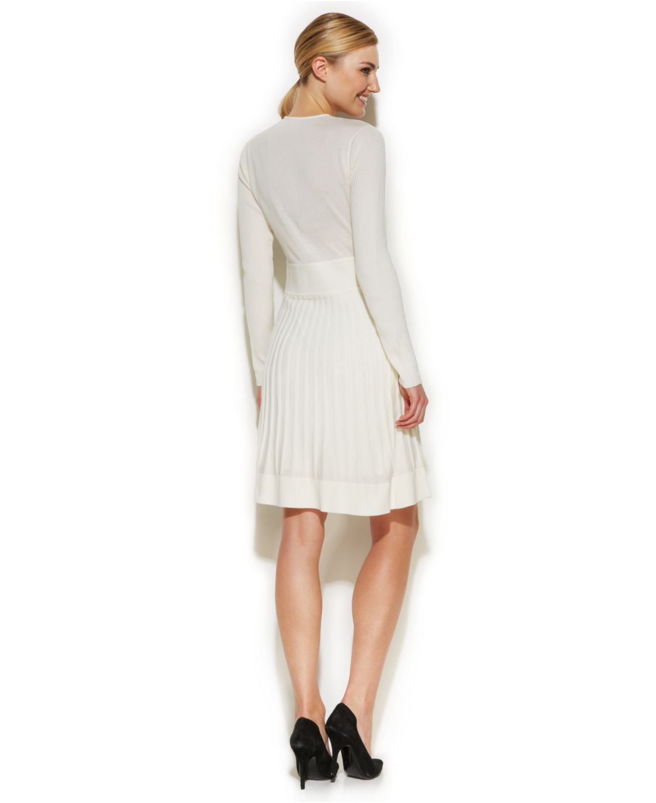 Calvin klein Long-Sleeve Ribbed Sweater Dress in White | Lyst