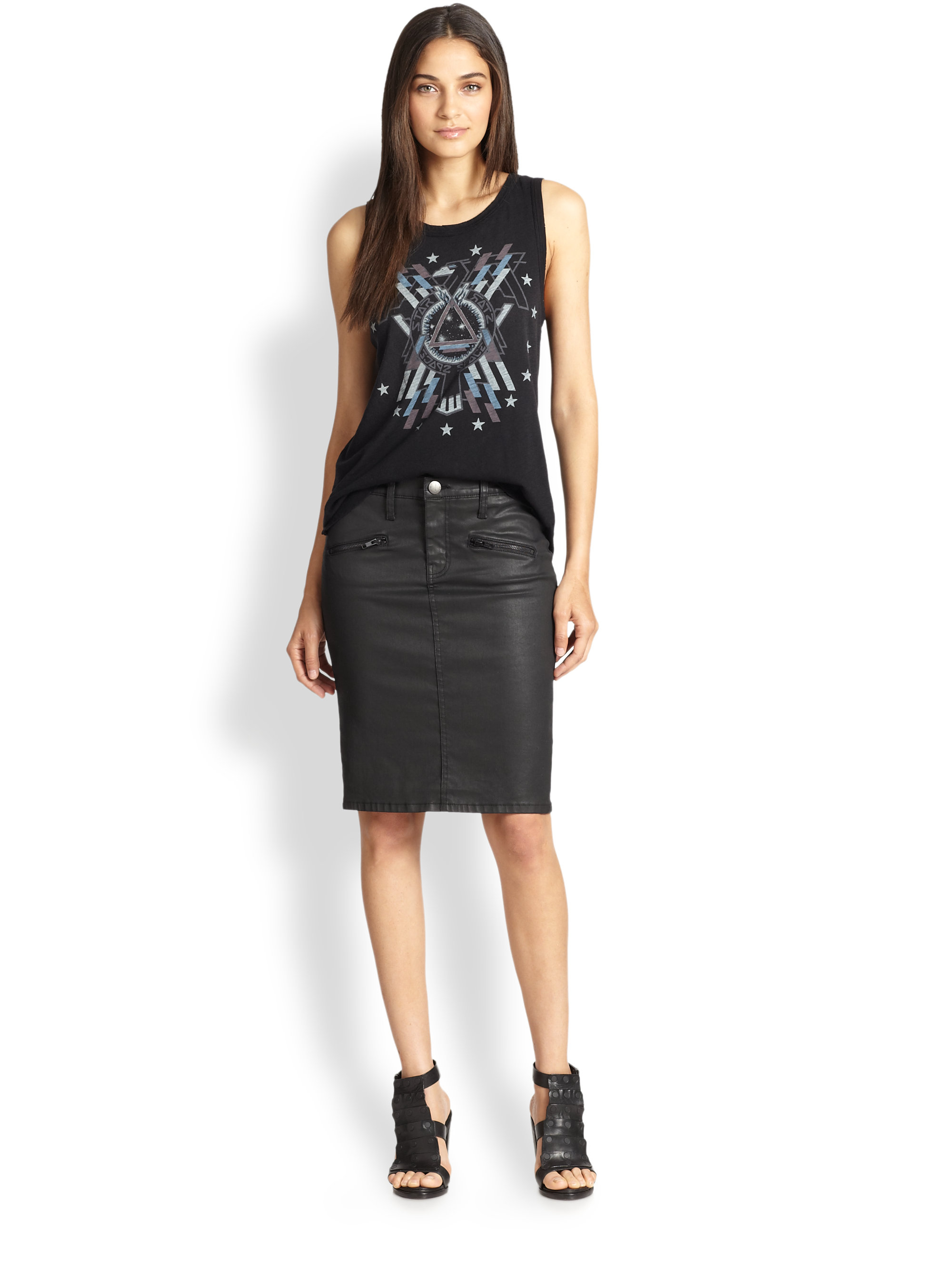 Current/elliott Soho Coated Denim Pencil Skirt in Black | Lyst