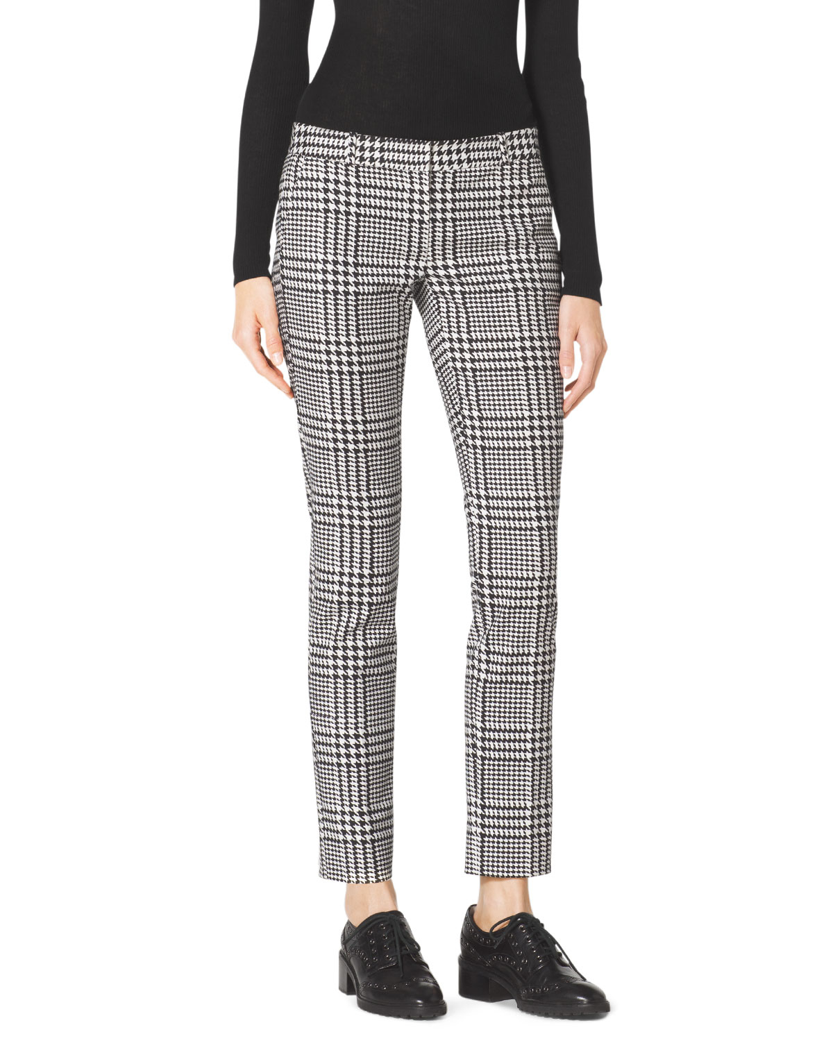 Michael kors Michael Verona Plaid Cropped Pants in Black | Lyst