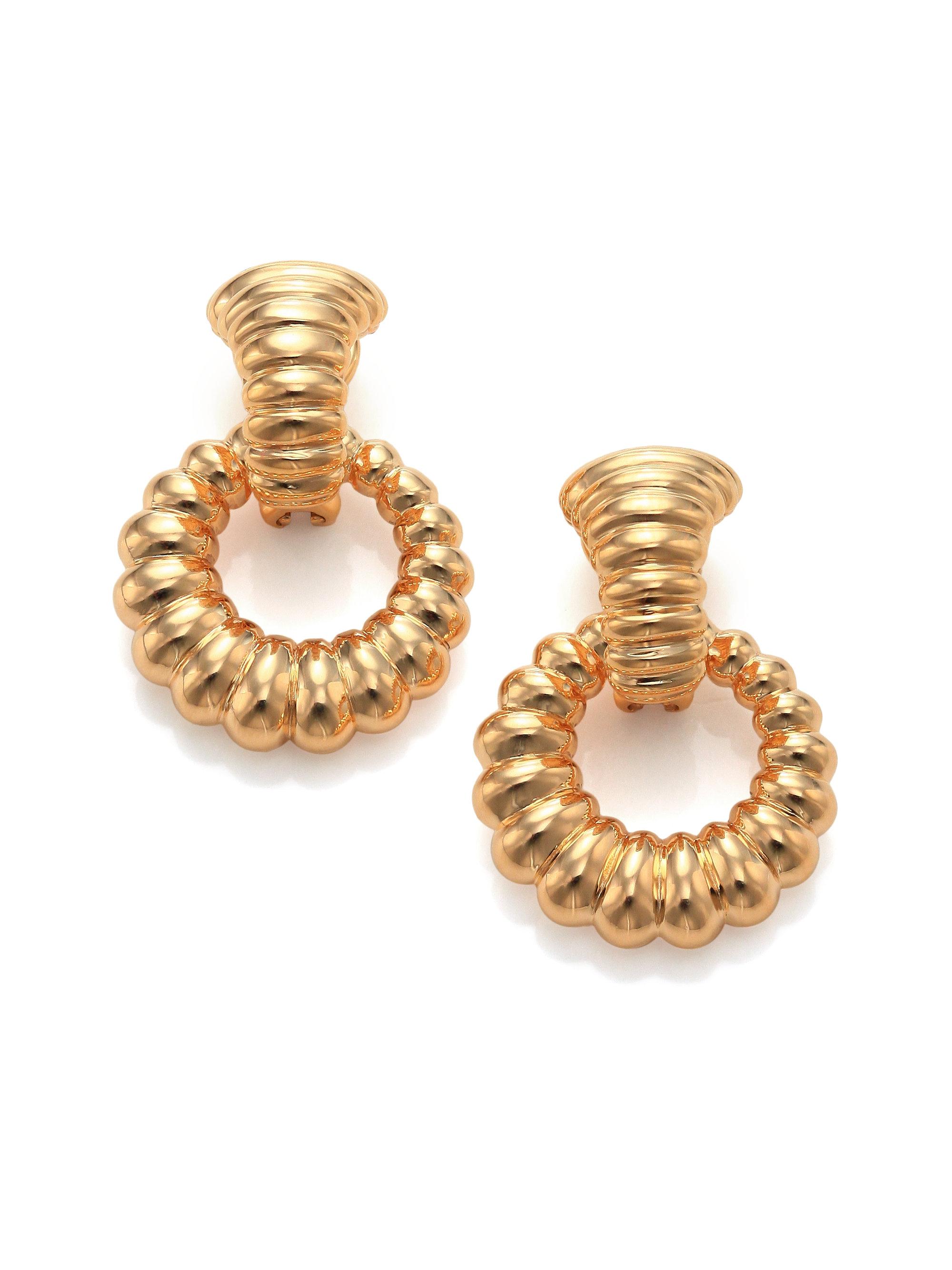 John hardy bedeg 18k yellow gold doorknocker earrings in for John hardy jewelry earrings