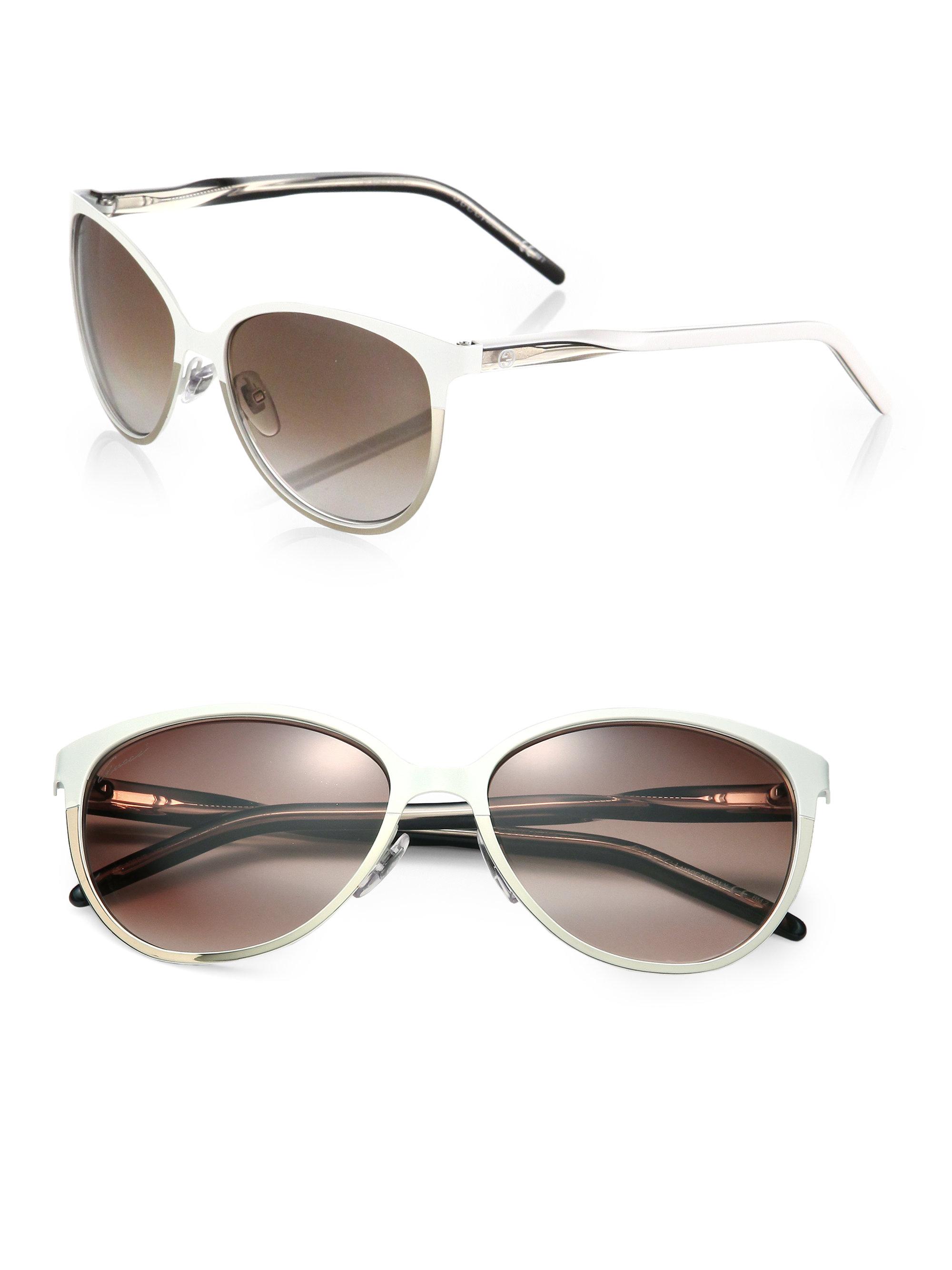 95f1adf2529 Lyst - Gucci Optyl Round Sunglasses in White
