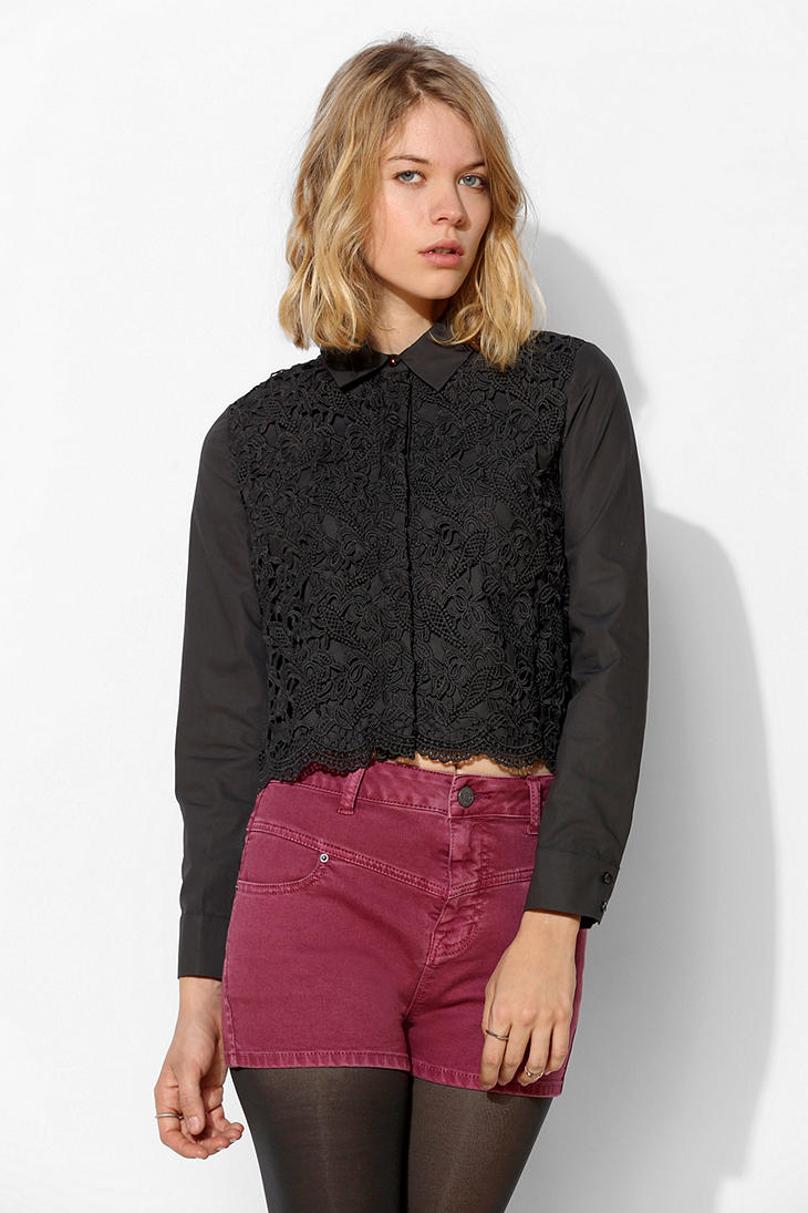 Lyst Urban Outfitters Sister Jane Lace Cropped Blouse In