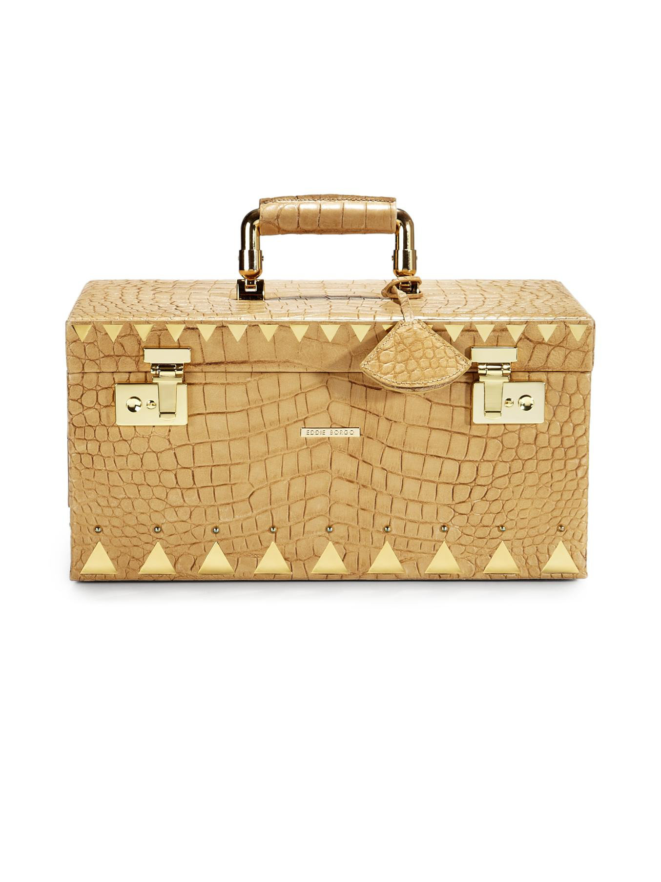 Lyst Eddie Borgo Crocodileembossed Leather Jewelry Boxgoldtone