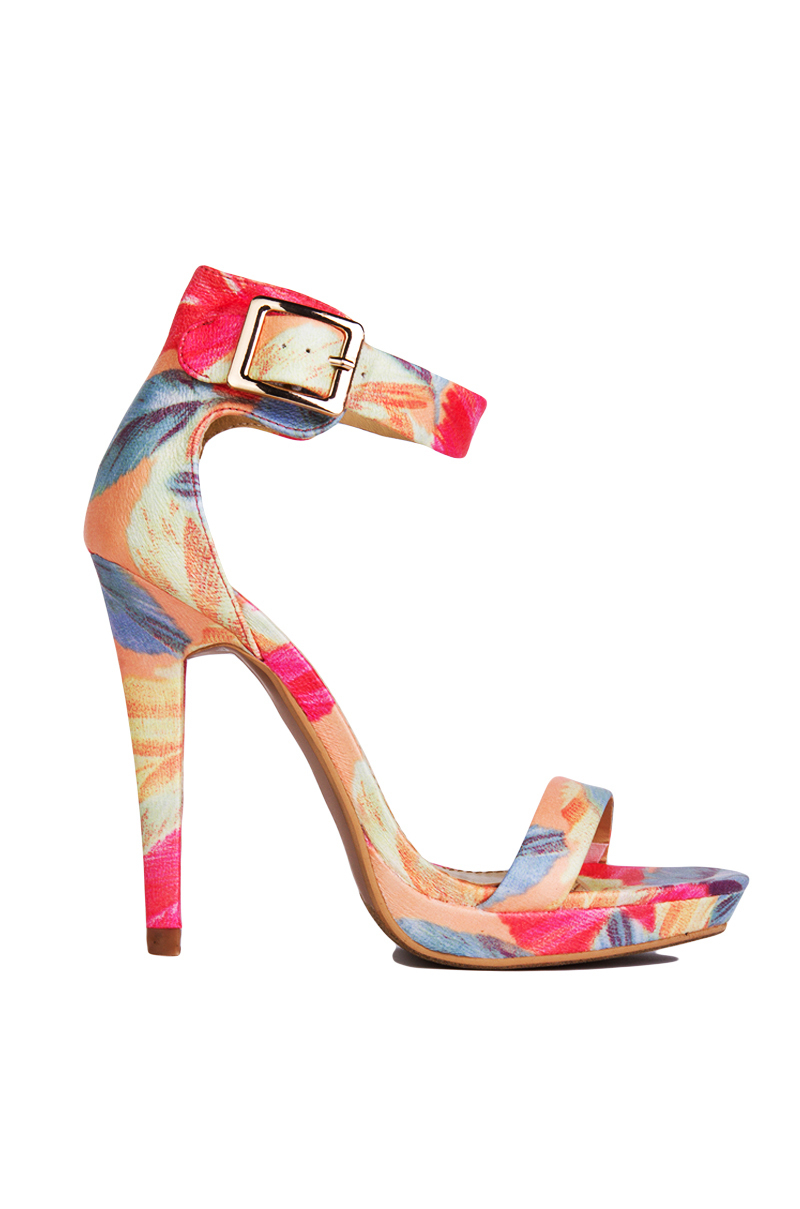 Akira Coral Floral Print Ankle Strap Heels in Pink | Lyst