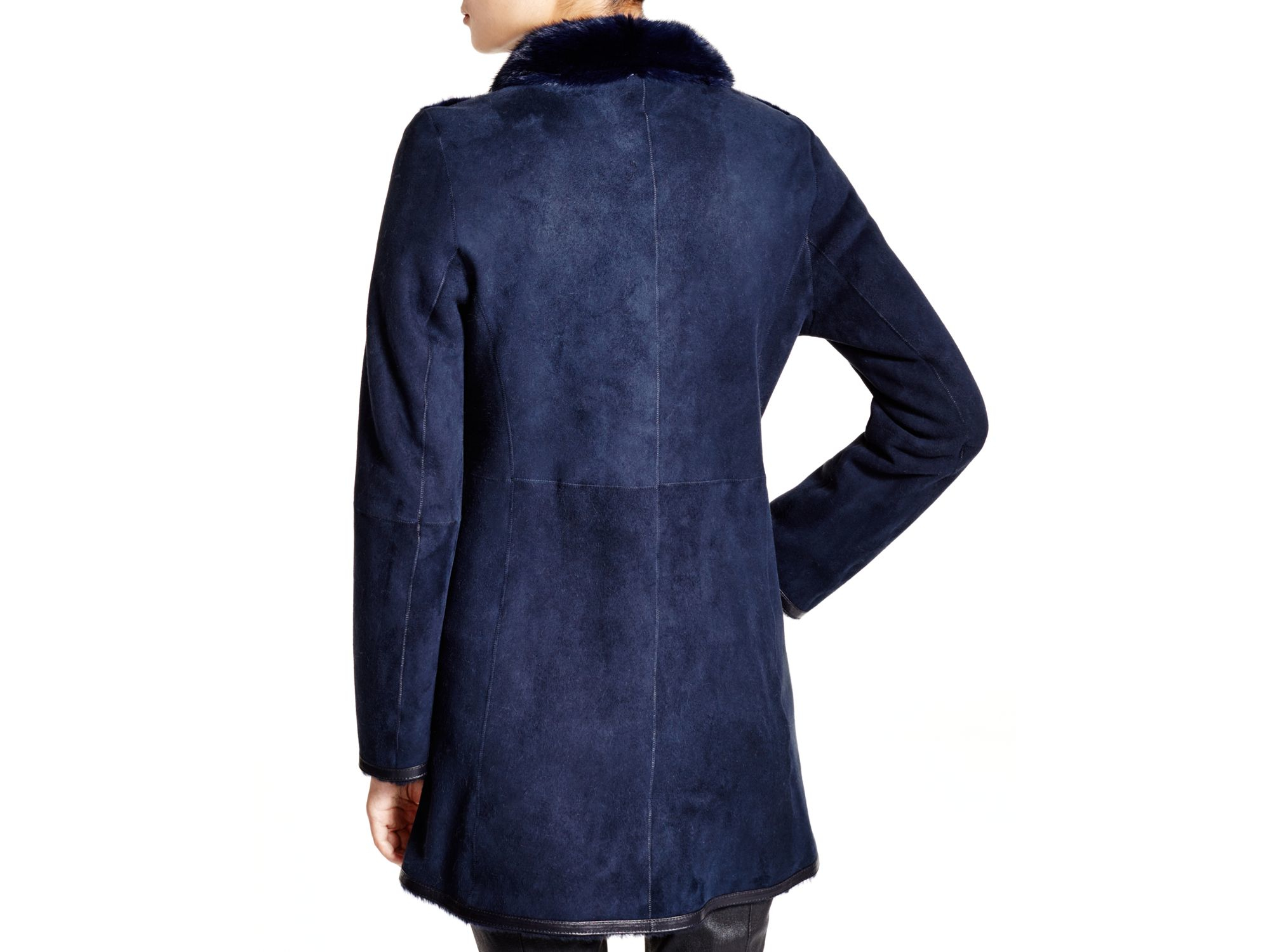 Maximilian Maximilian Lamb Shearling Coat With Mink Collar in Blue