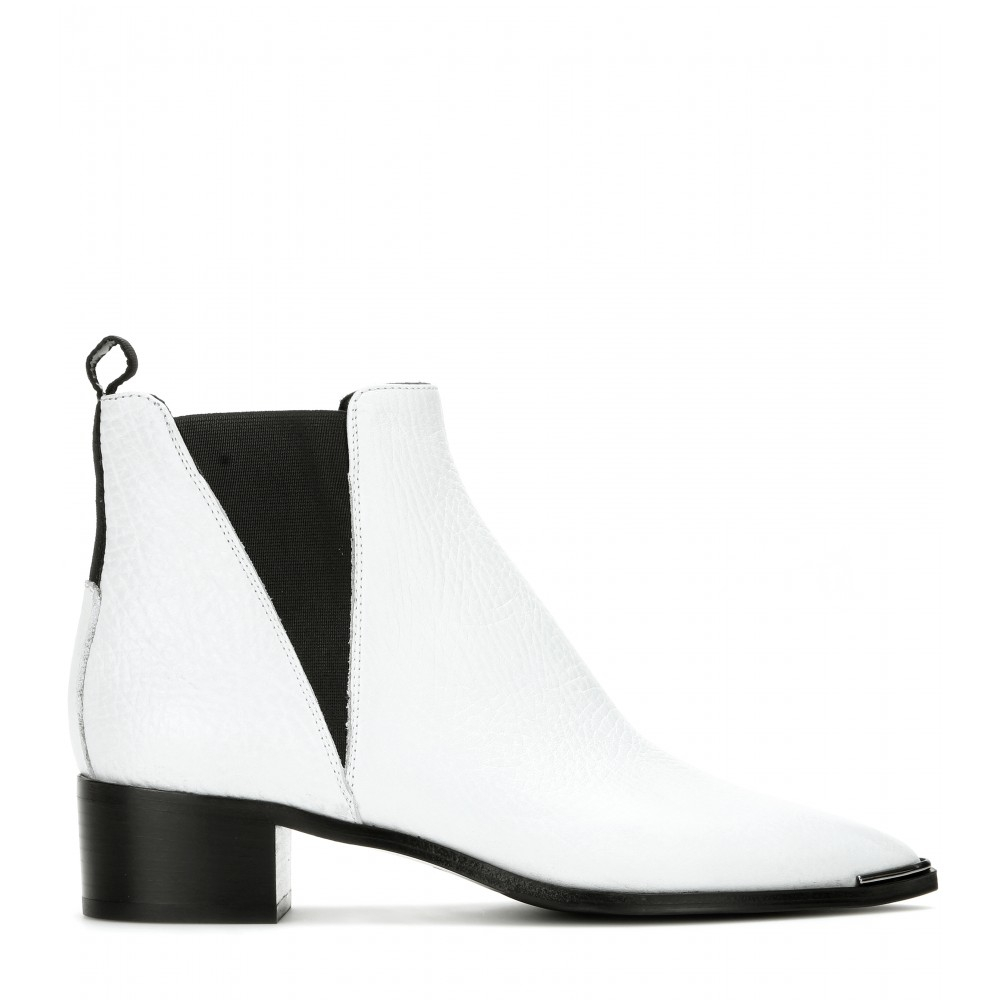 Acne studios Jensen Leather Ankle Boots in White | Lyst