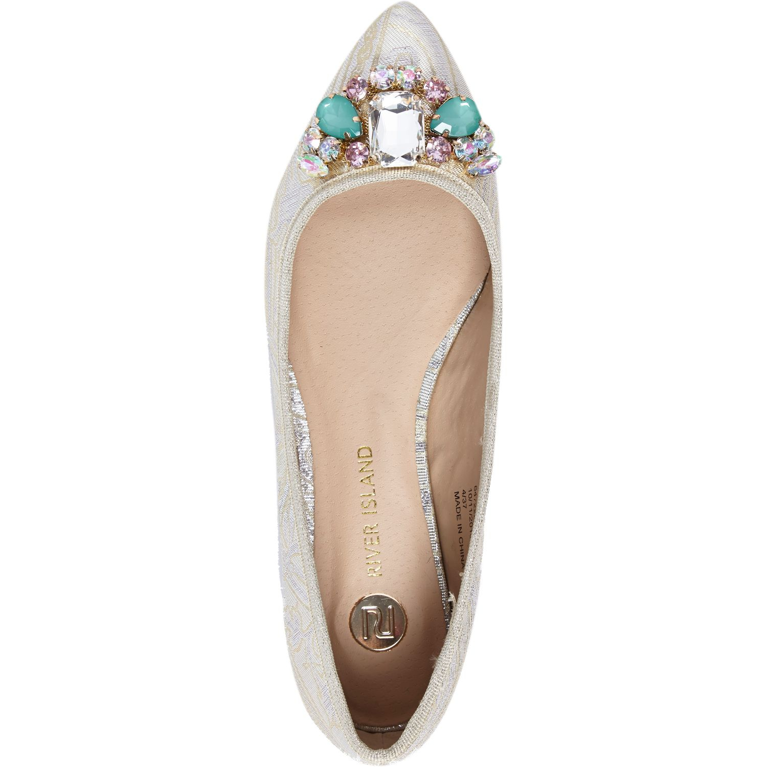 2d0c8561c72 River Island Gold Embellished Ballet Flats in Metallic - Lyst