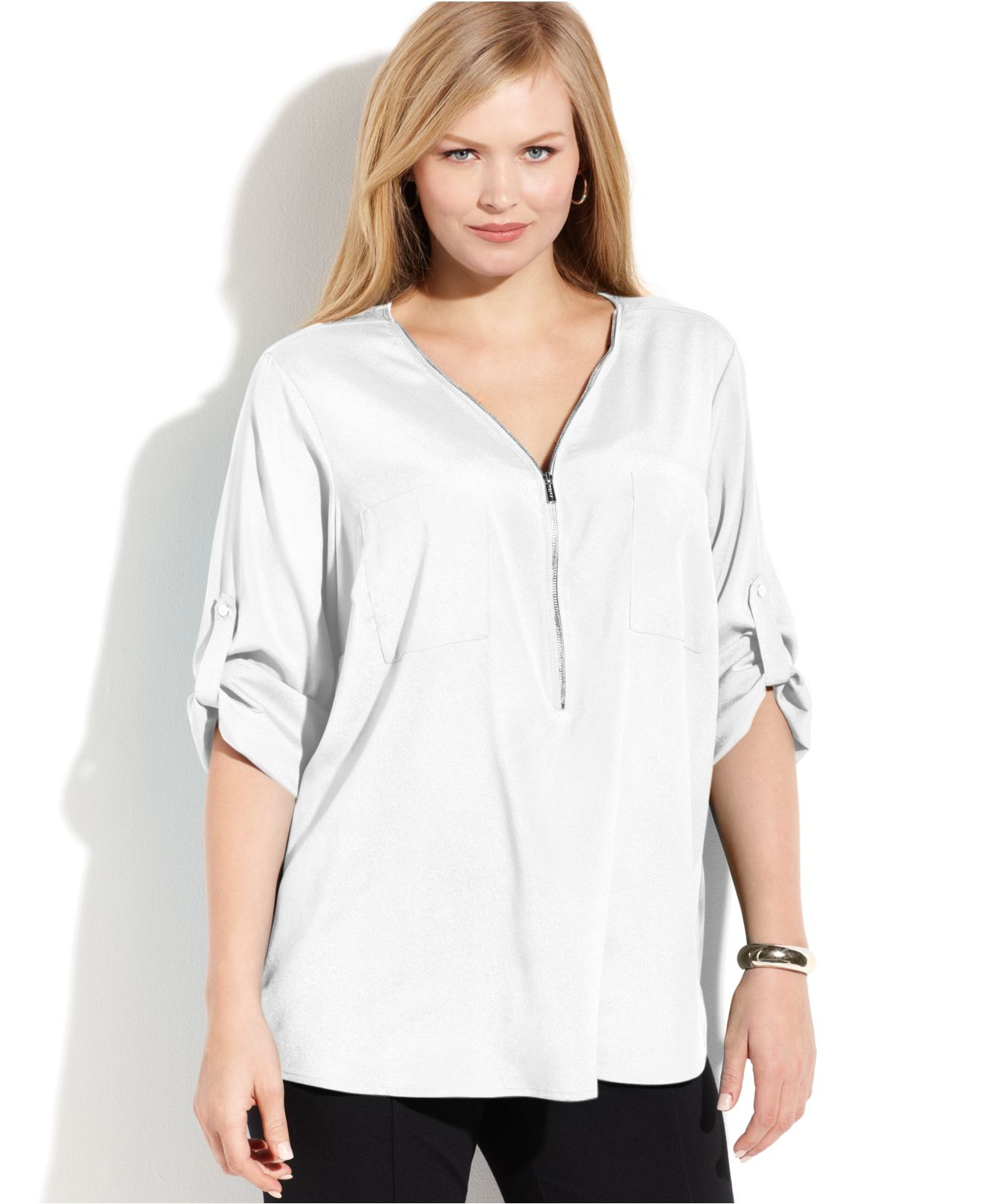 bf9a90fcde8 Lyst - Calvin Klein Plus Size Roll-Tab-Sleeve Zip-Front Blouse in White