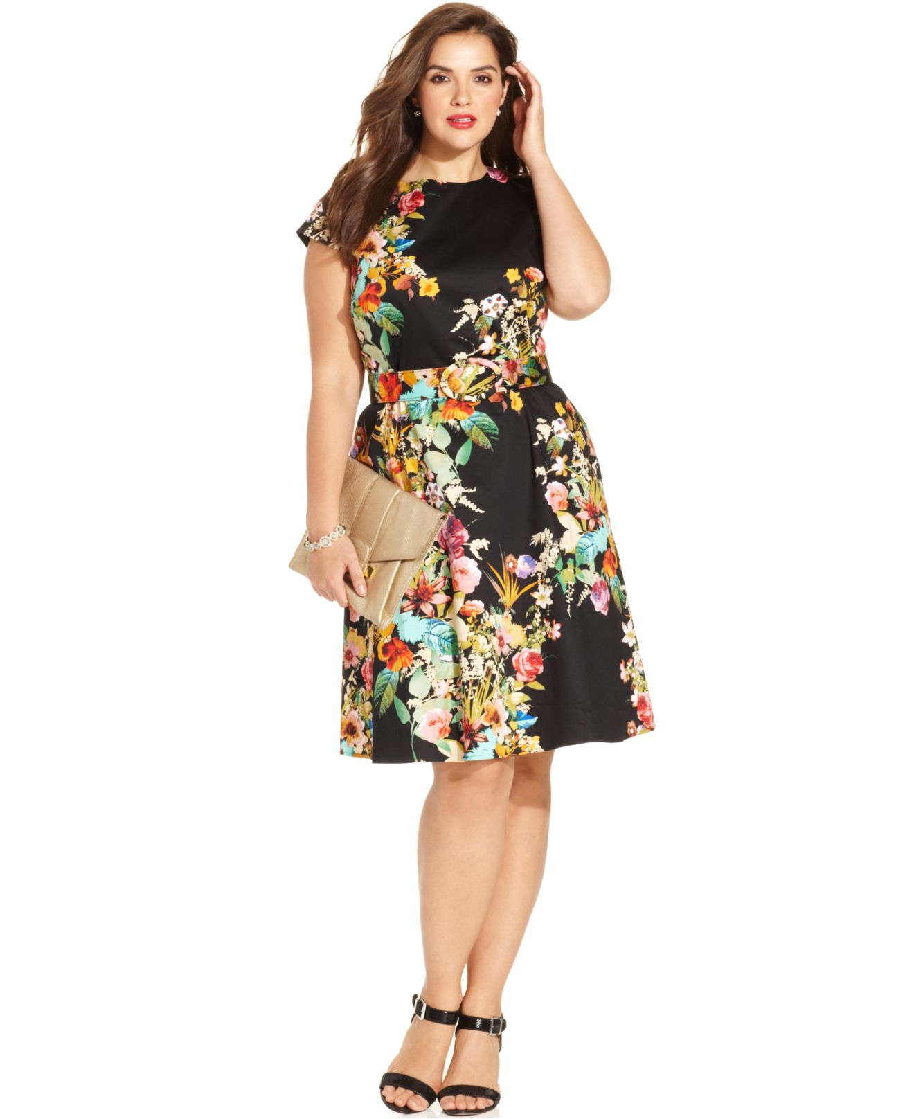 Spense Plus Size Cap-Sleeve Floral-Print A-Line Dress in ...