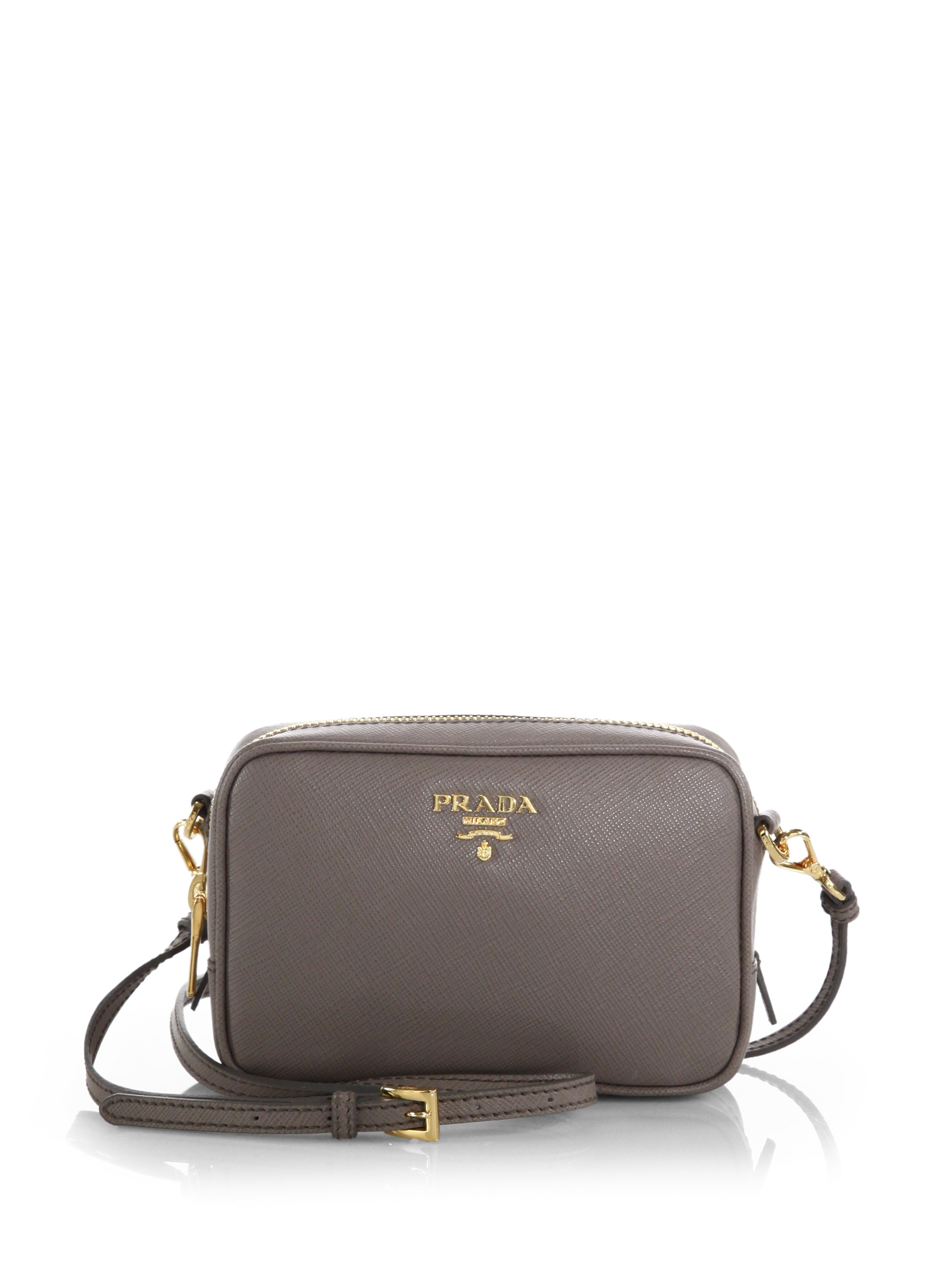 2fe23ec73d70 ... reduced lyst prada saffiano leather camera bag in gray bcef6 32d6b