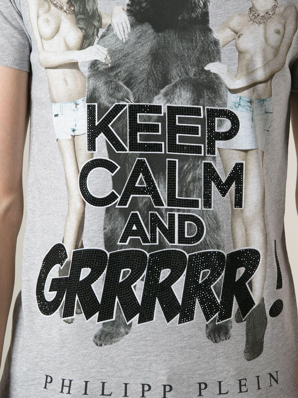 Lyst Philipp Plein Keep Calm T Shirt In Gray For Men