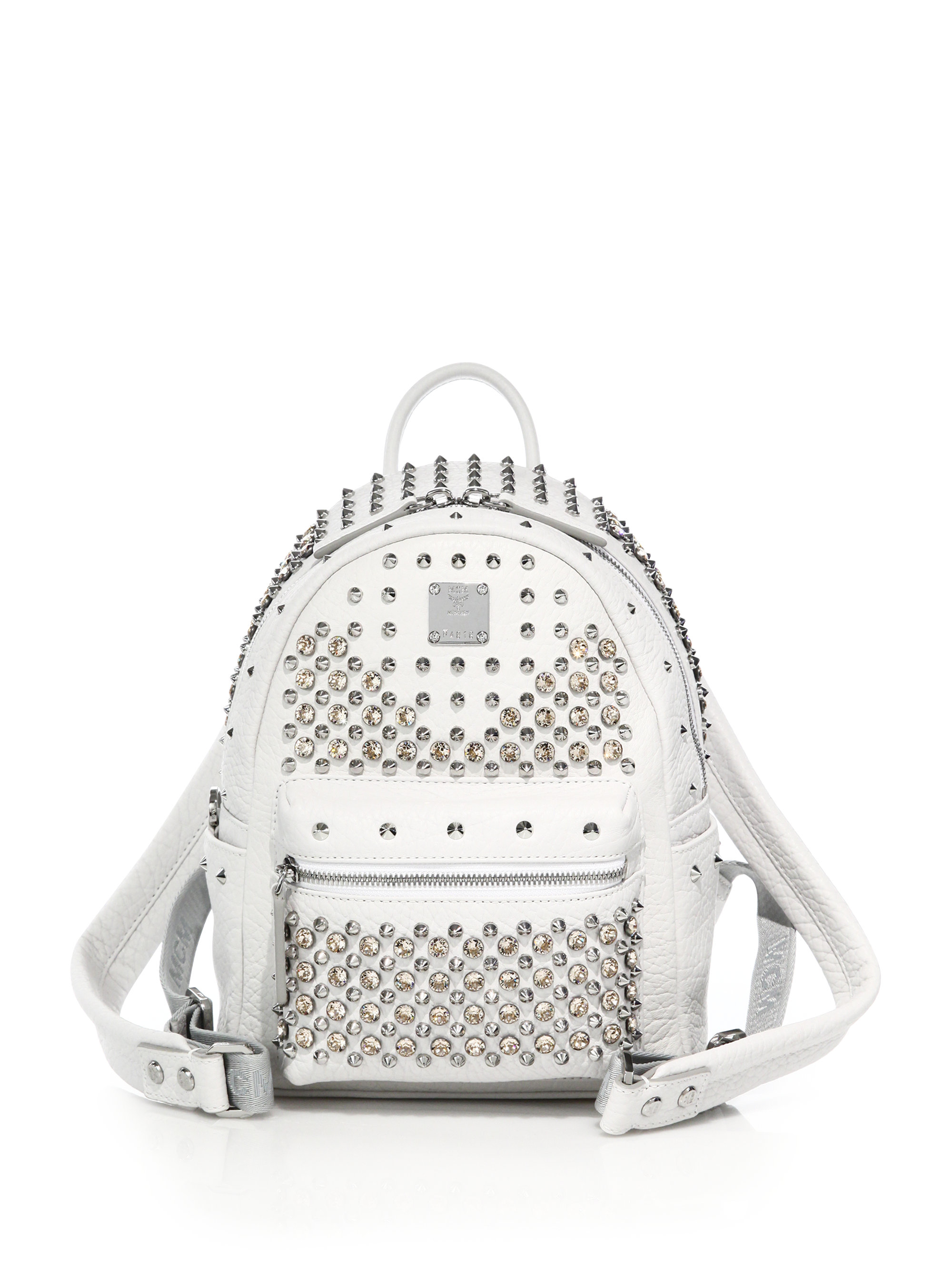 Lyst - MCM Stark Special Mini Studded Leather Backpack in White 5699867dd3c7b
