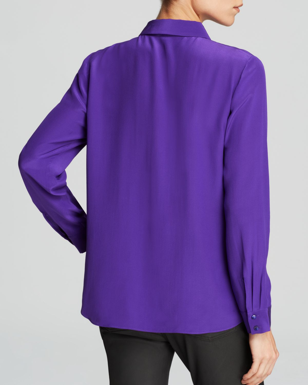 Eileen fisher silk button down blouse in purple lyst for Silk button down shirt