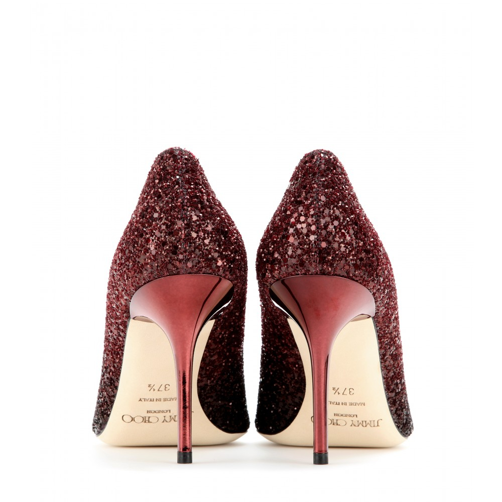 4b2d7848eb4e ... best price lyst jimmy choo agnes glitter covered leather pumps in red  16fcd 6551c
