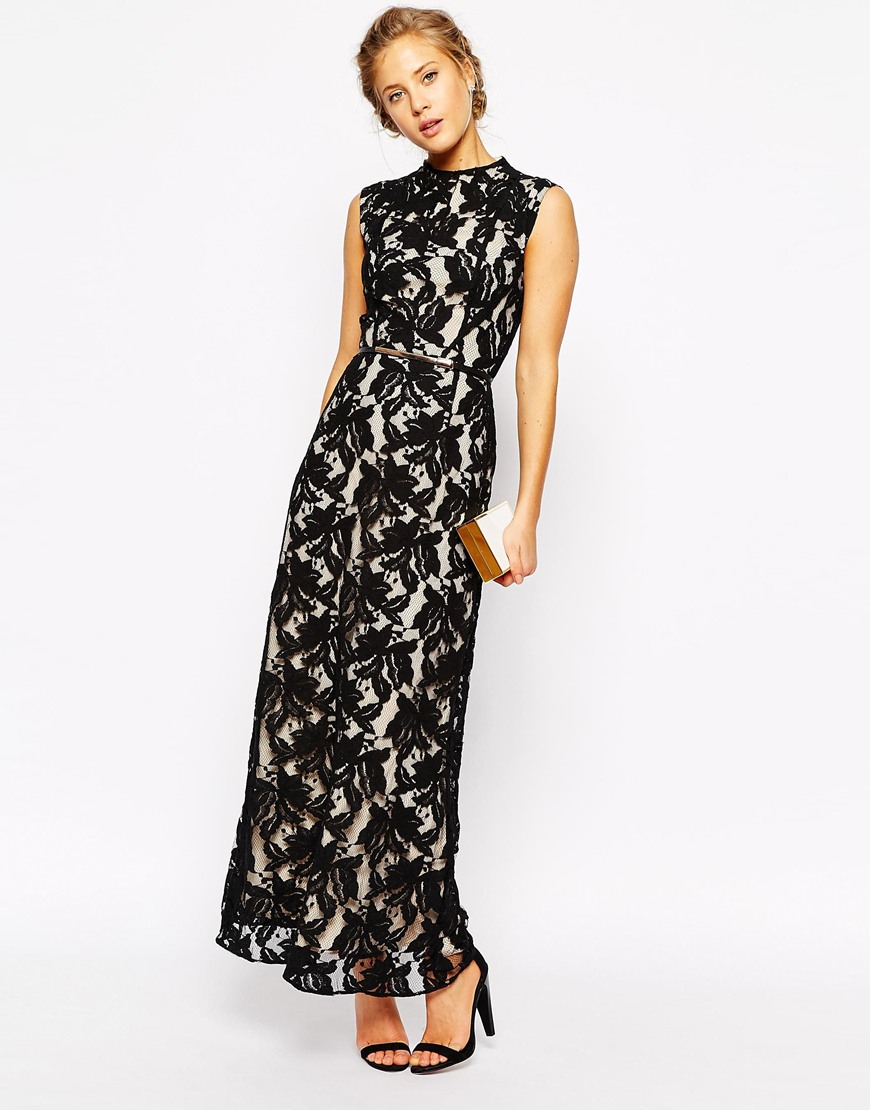 oasis premium lace maxi dress with belt in black lyst