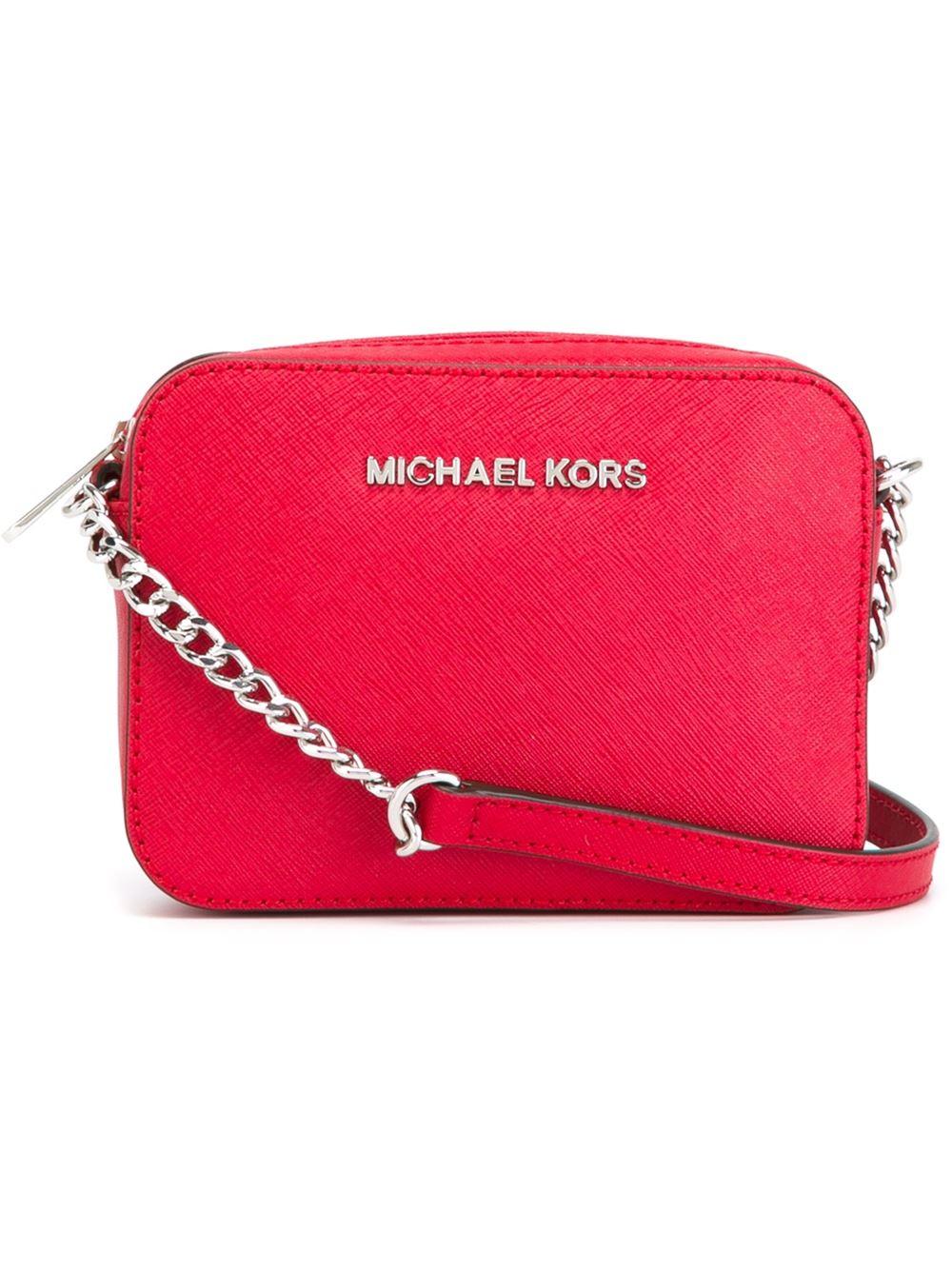 93a6dc8ba095 MICHAEL Michael Kors Jet Set Travel Mini Cross-Body Bag in Red - Lyst