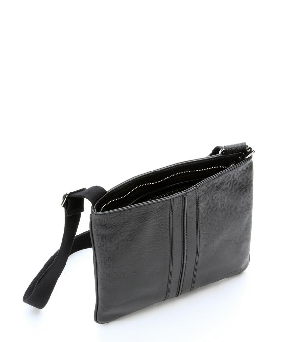 Tod's Black Leather Flat Shoulder Bag in Black for Men | Lyst