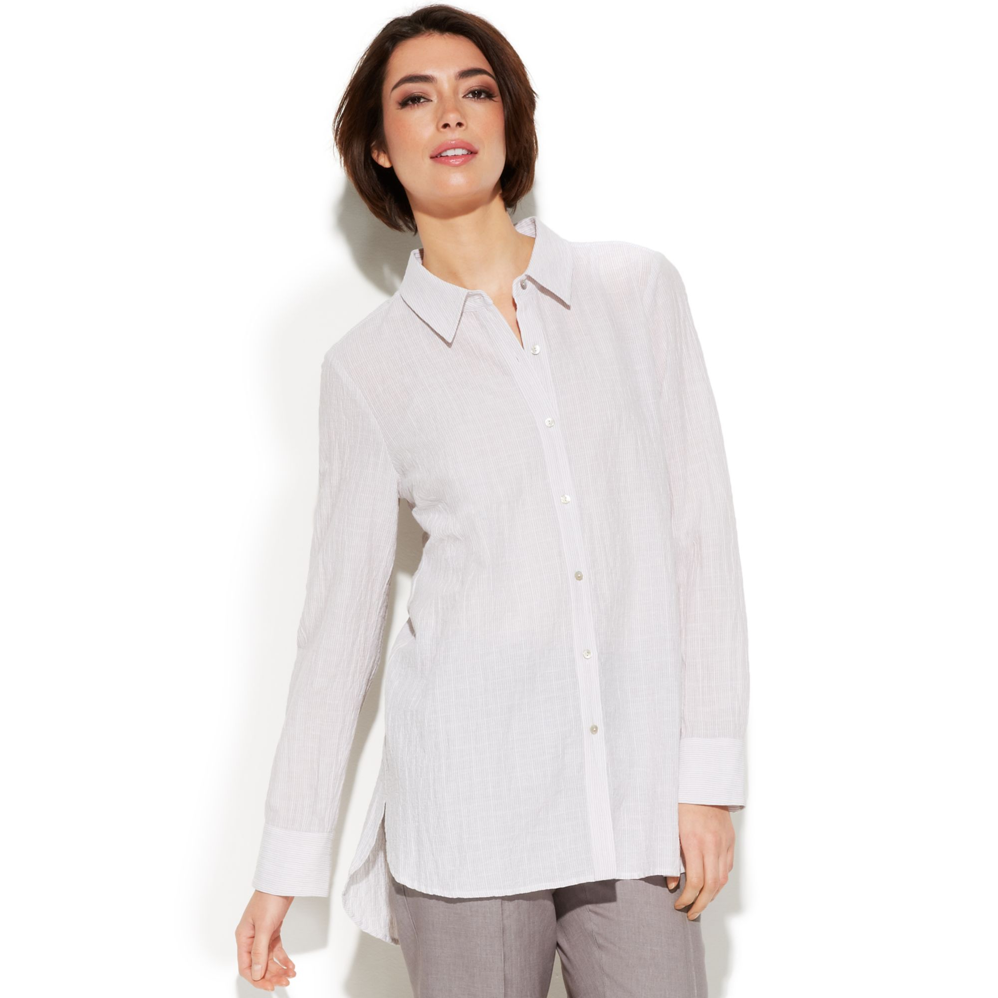 8a5509db Eileen Fisher Long-sleeve High-low Button-down Shirt in White - Lyst
