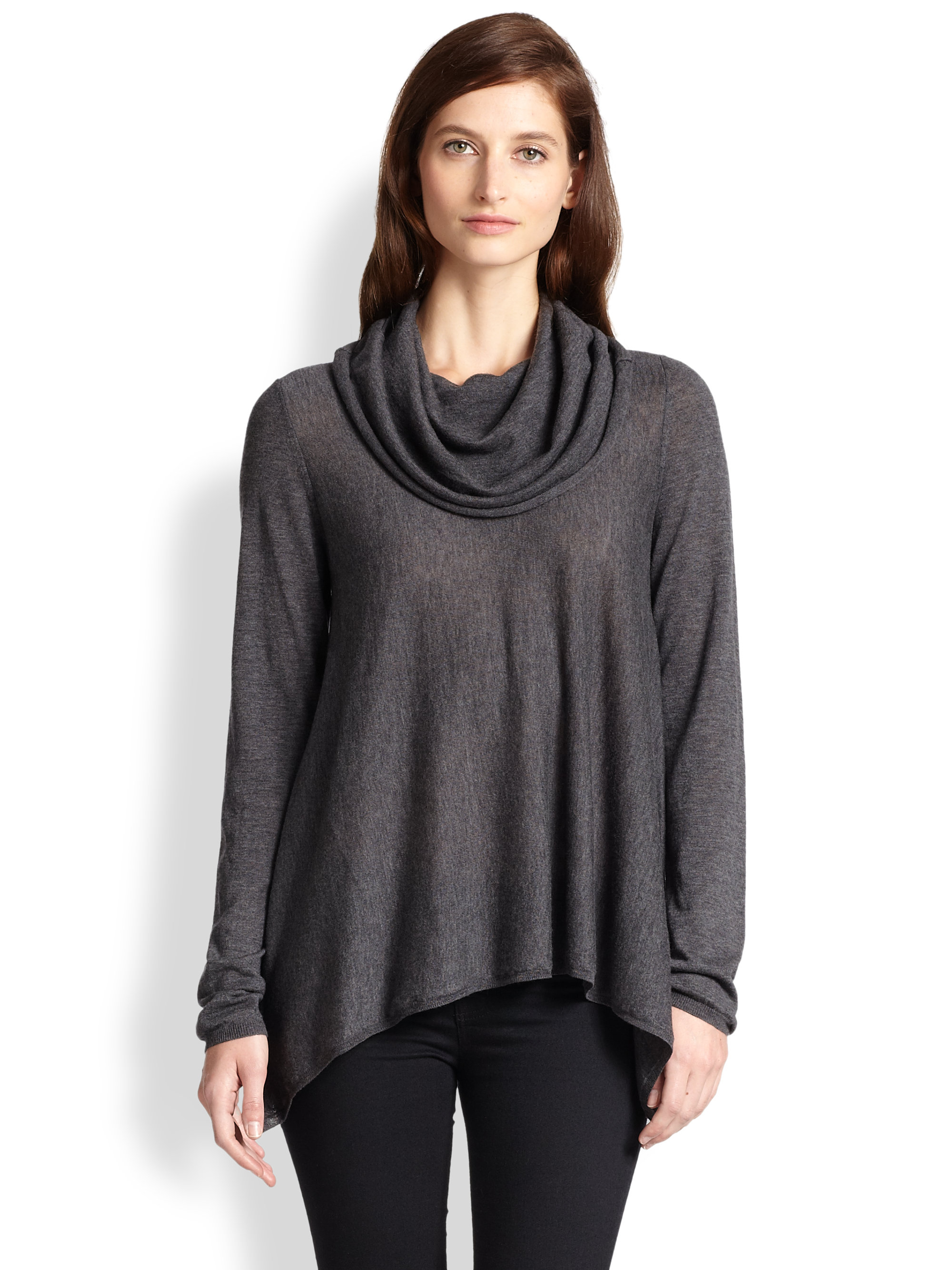 Alice   olivia Draped Cowlneck Sweater in Gray | Lyst