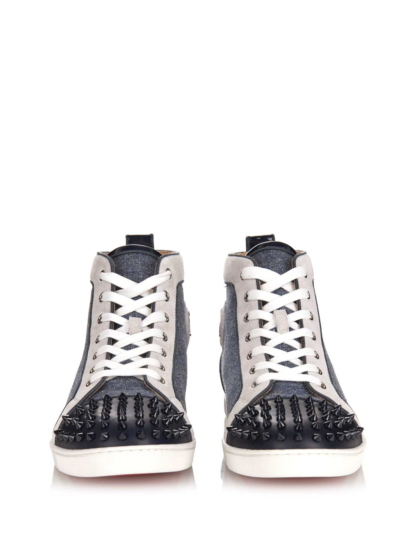 Christian louboutin Bip Bip Orlato Spiked High-Top Sneakers in ...