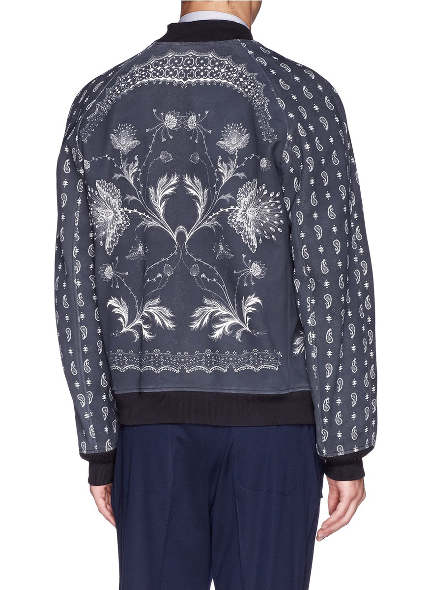 Lyst Alexander Mcqueen Floral And Paisley Print Suede