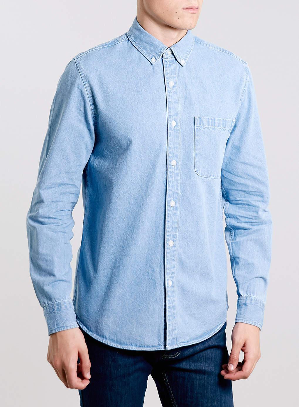 Topman Blue Bleach Denim Button Down Collar Shirt In Blue