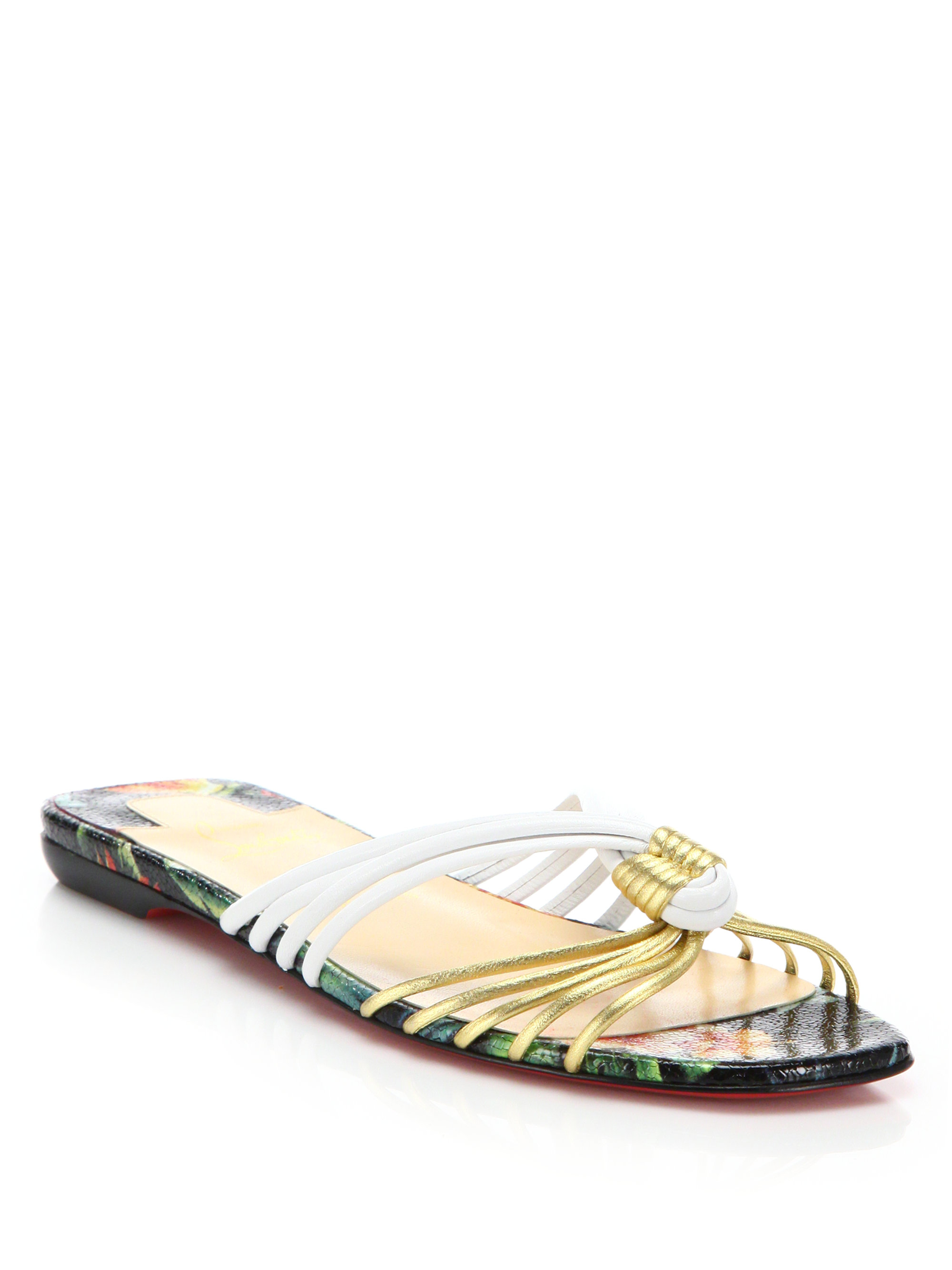 Christian Louboutin Metallic Slide Sandals