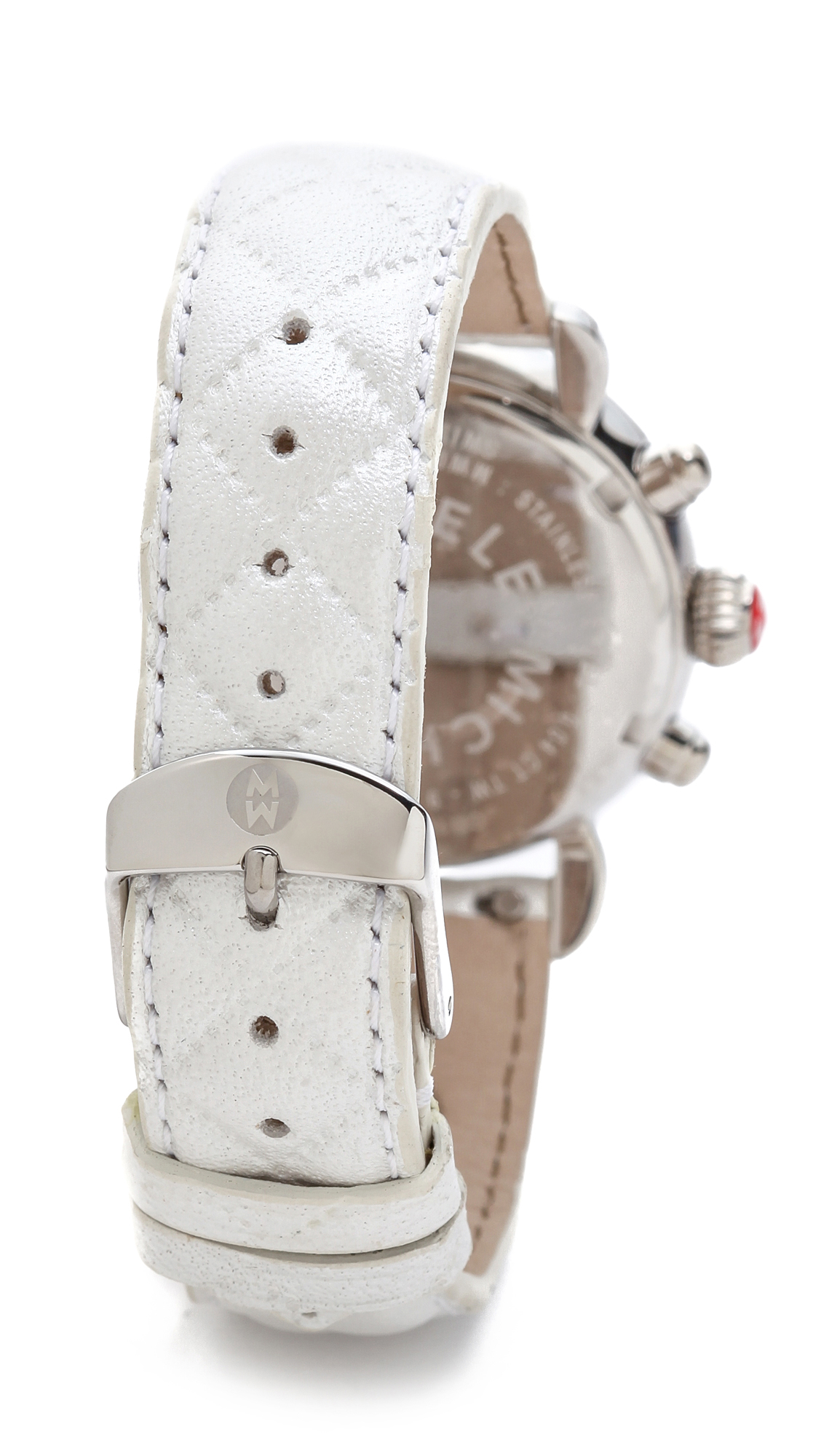 Michele 18mm Quilted Leather Watch Strap White In White