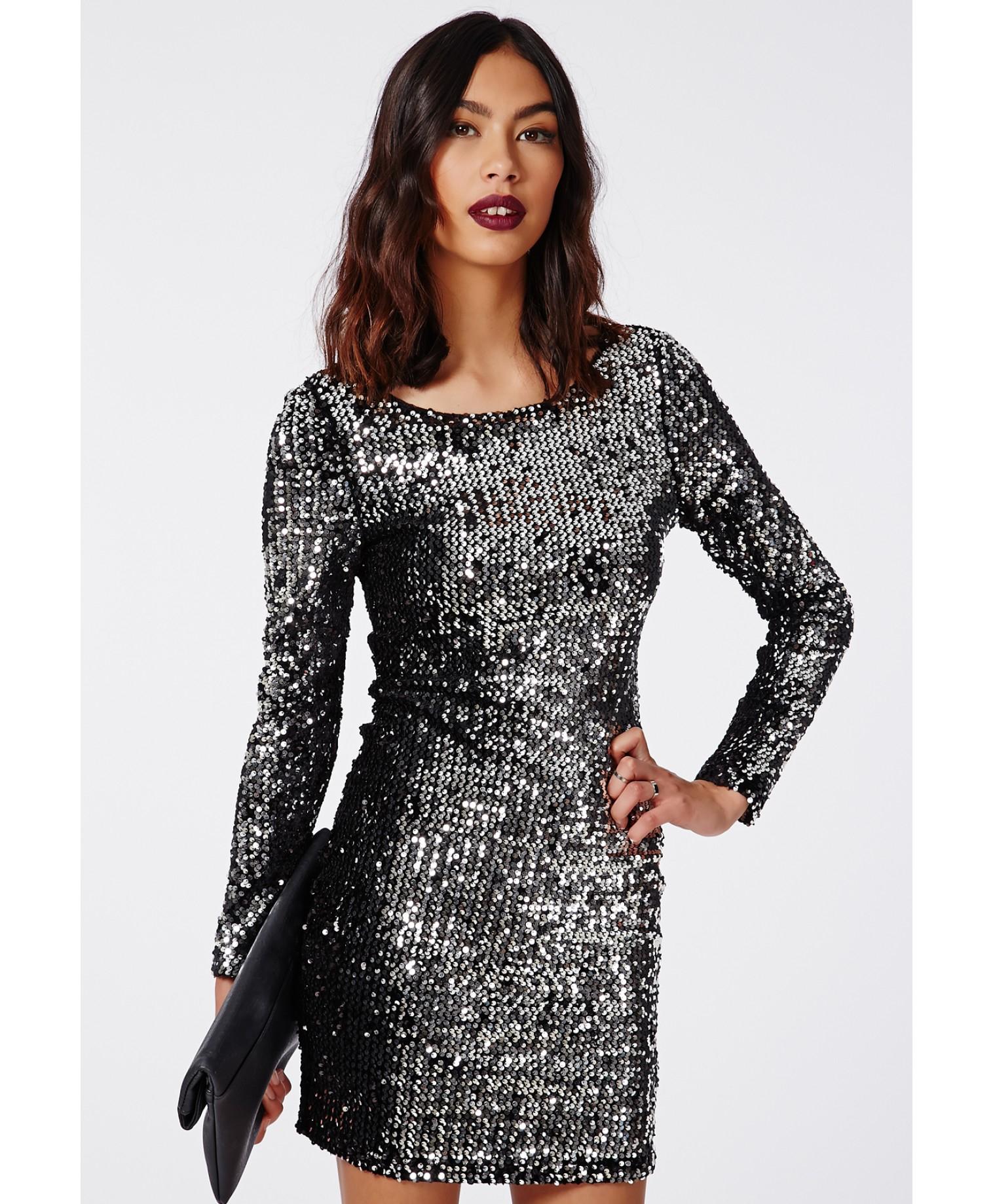 Black Sequin Long Sleeve Mini Dress