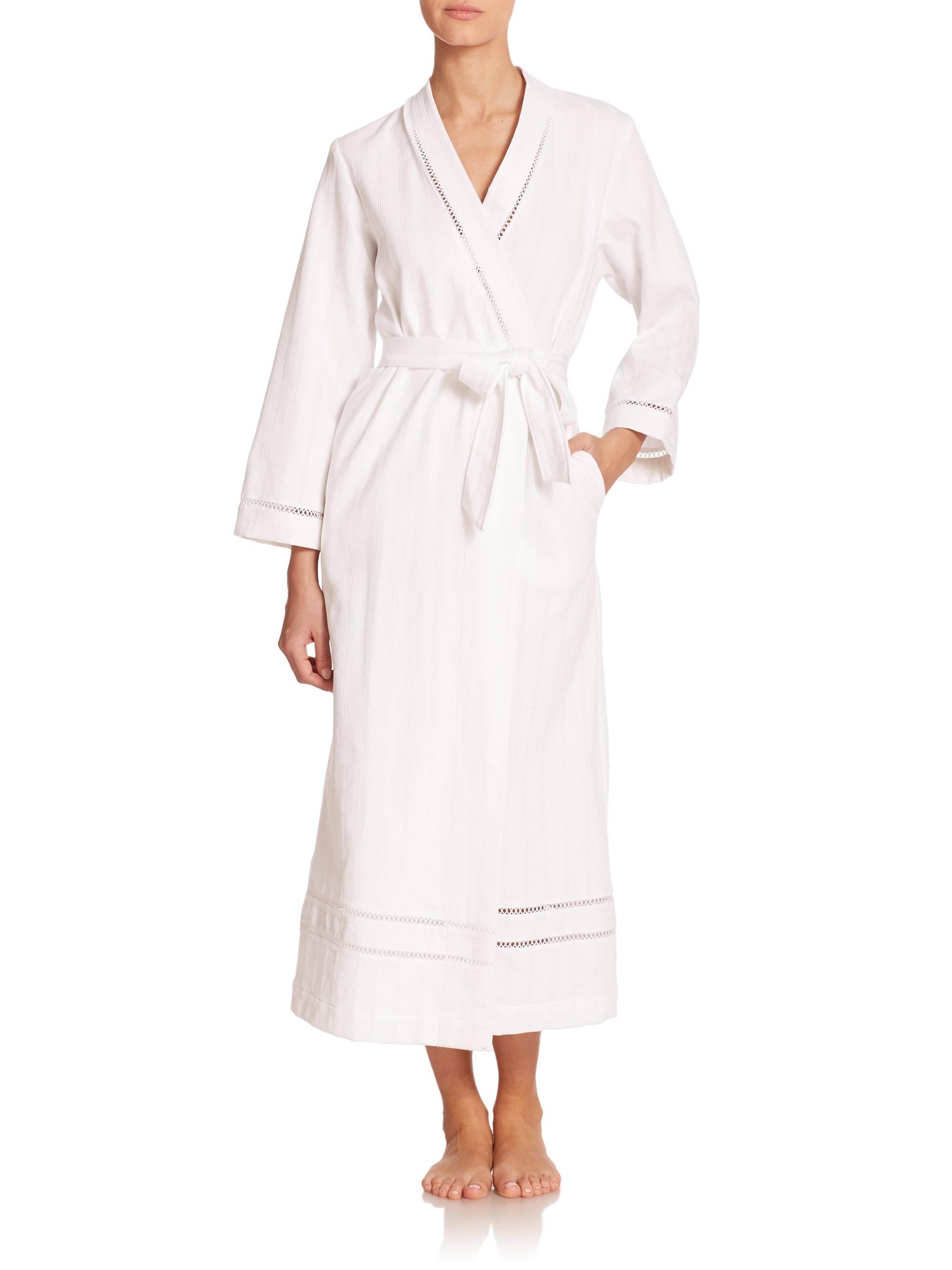 oscar de la renta luxe spa long cotton robe in white lyst. Black Bedroom Furniture Sets. Home Design Ideas
