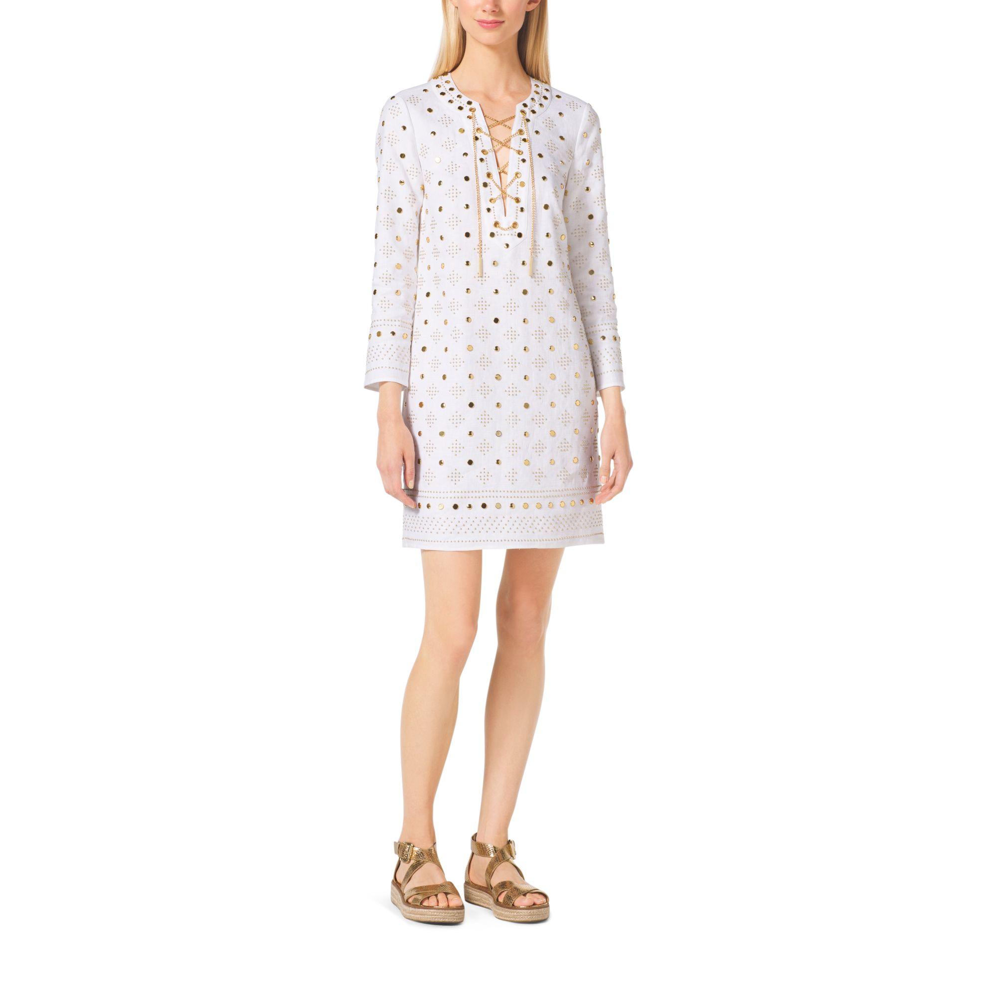 50e10e23964 Michael Kors Embroidered Linen Tunic in White - Lyst