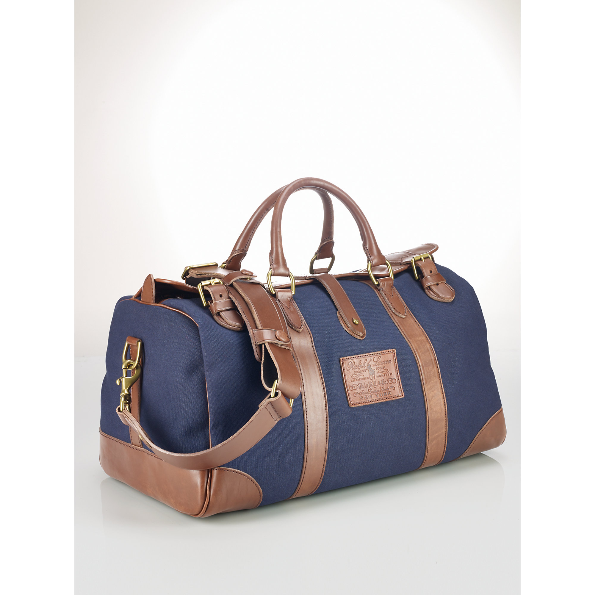 336f970d34c4 Lyst - Polo Ralph Lauren Leather-trim Canvas Gym Bag in Blue for Men