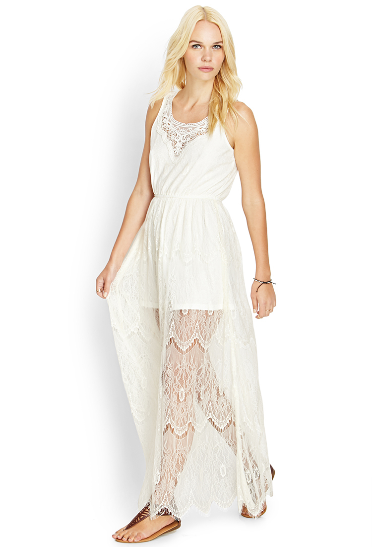 Forever 21 Crocheted Lace Maxi Dress in Natural | Lyst