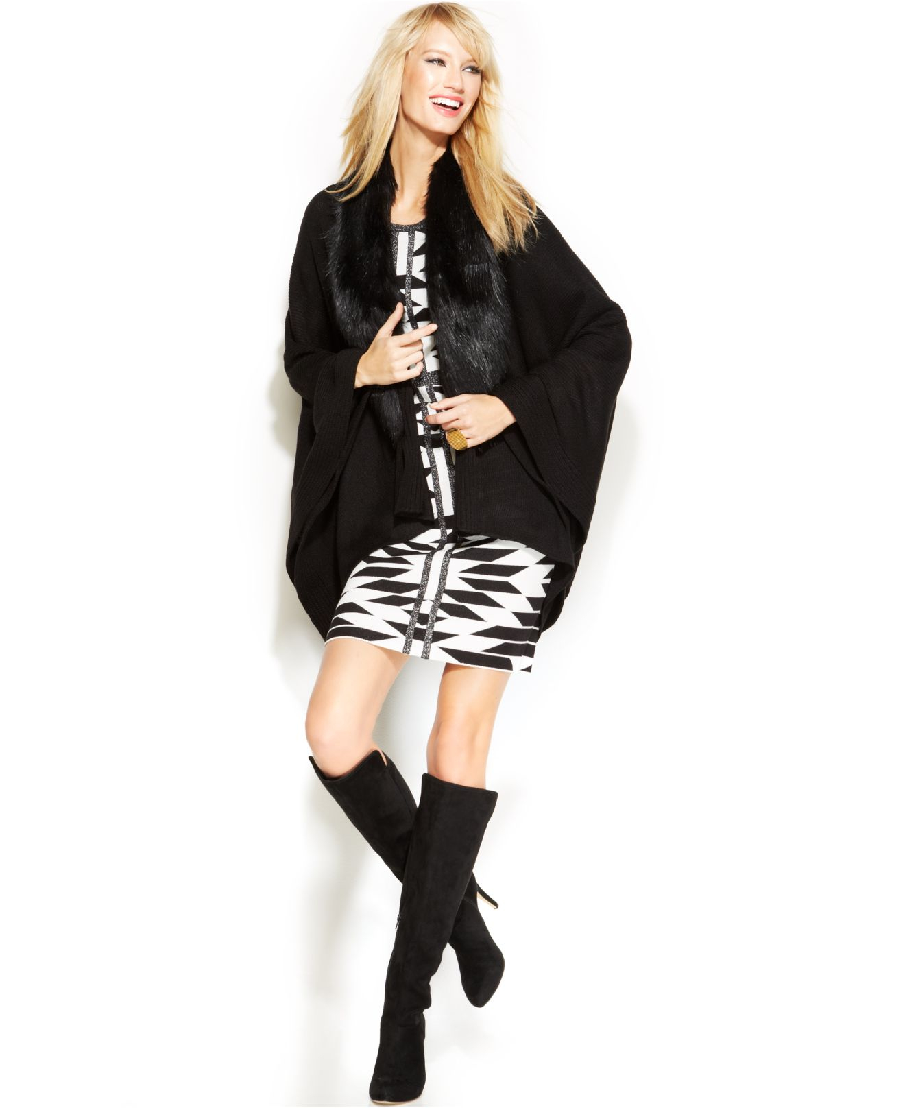 Black With Fur Collar Sweater: Inc International Concepts Faux-Fur-Collar Poncho