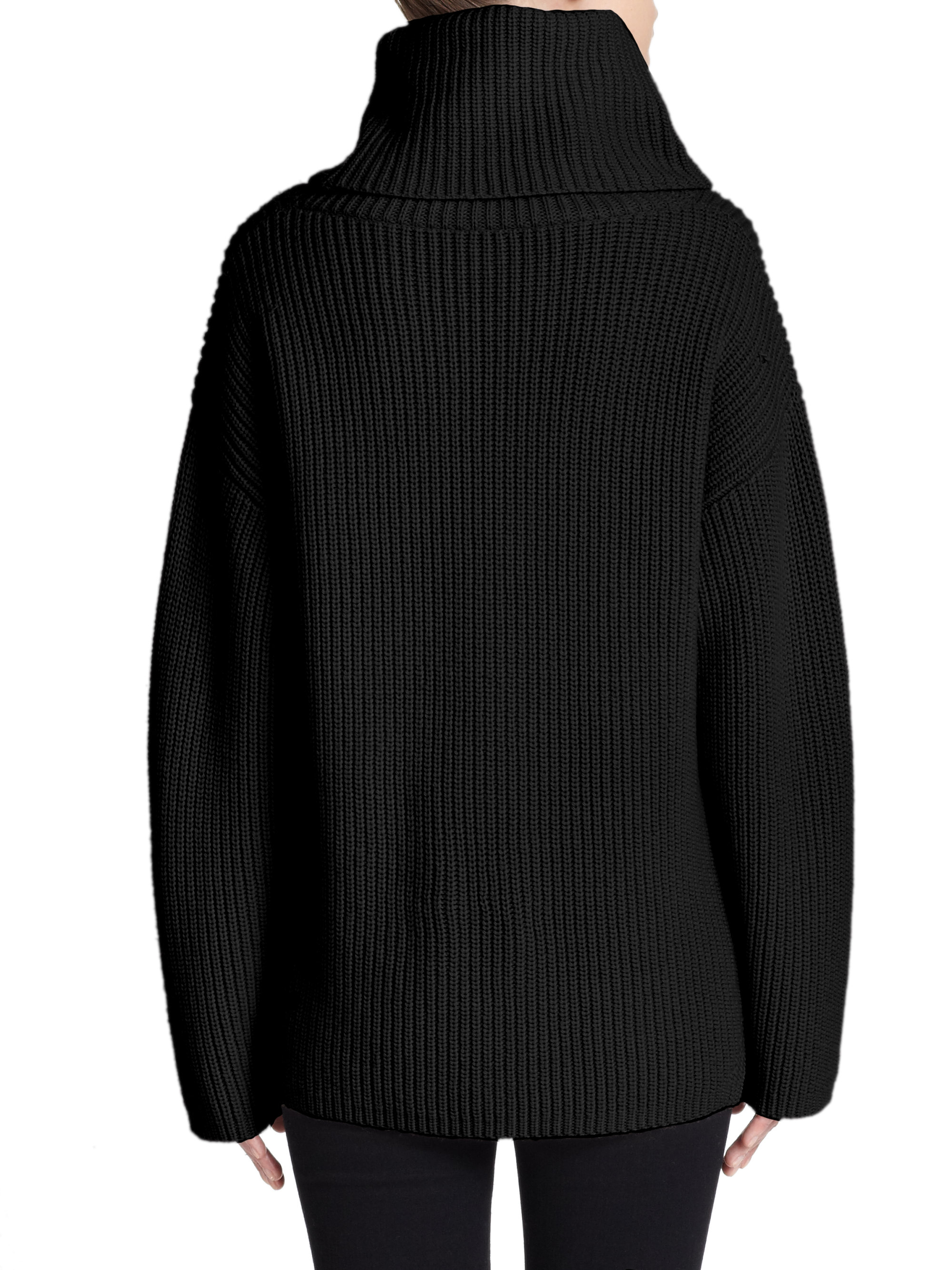 Theory Naven Oversized Ribbed Wool Turtleneck Sweater in Black | Lyst