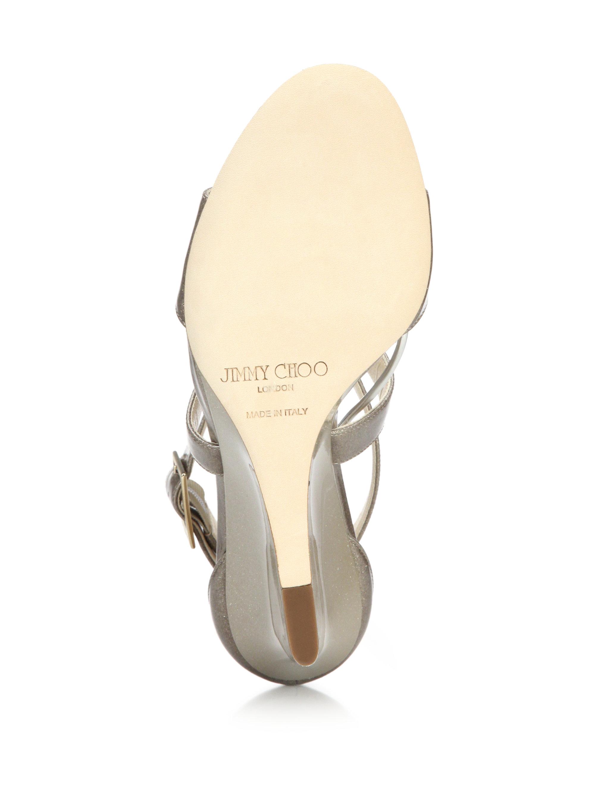 b033290811 Jimmy Choo Fearne Glitter Patent Leather Wedge Sandals in Metallic ...