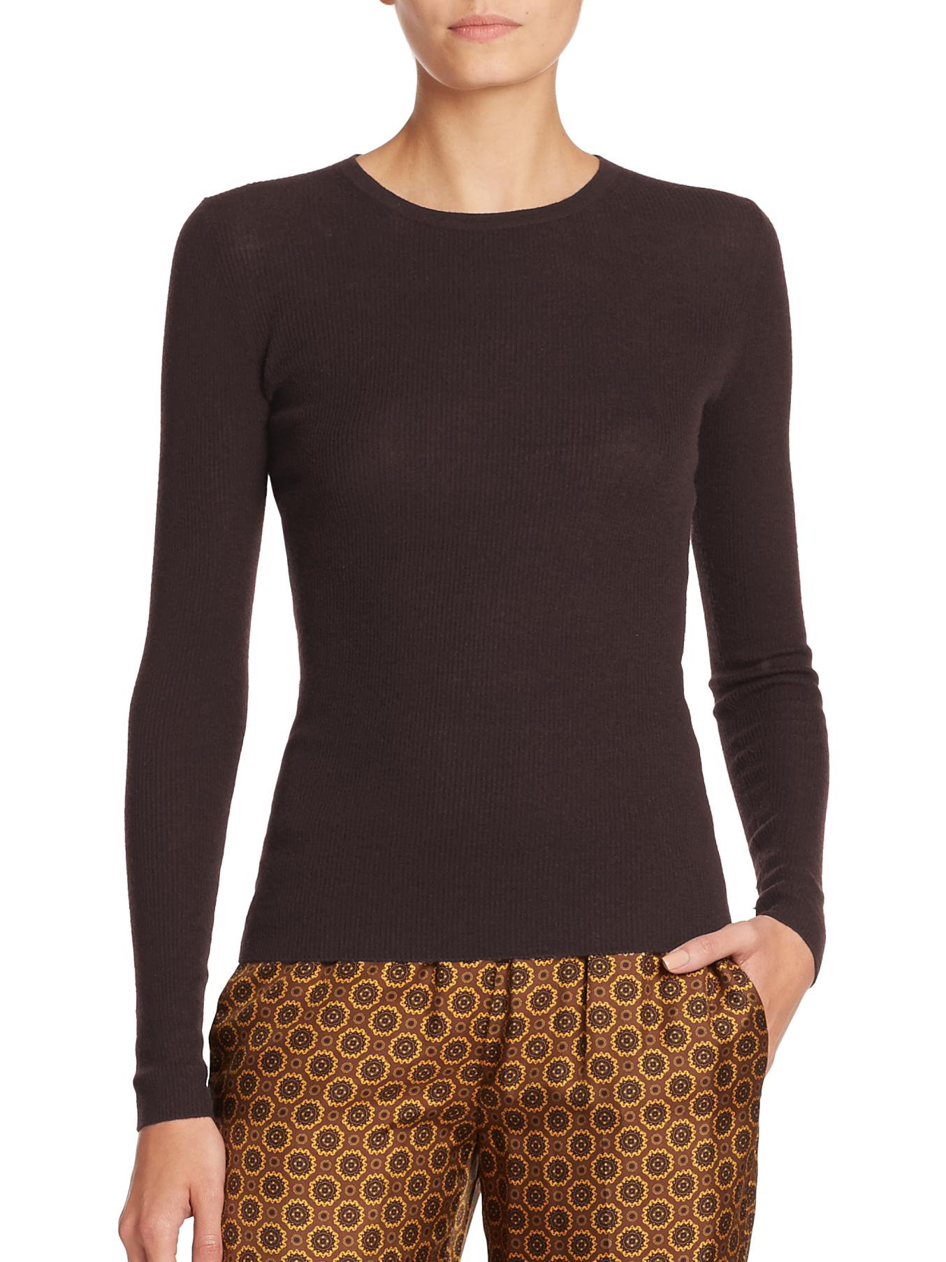Michael kors Featherweight Ribbed Cashmere Sweater in Brown | Lyst