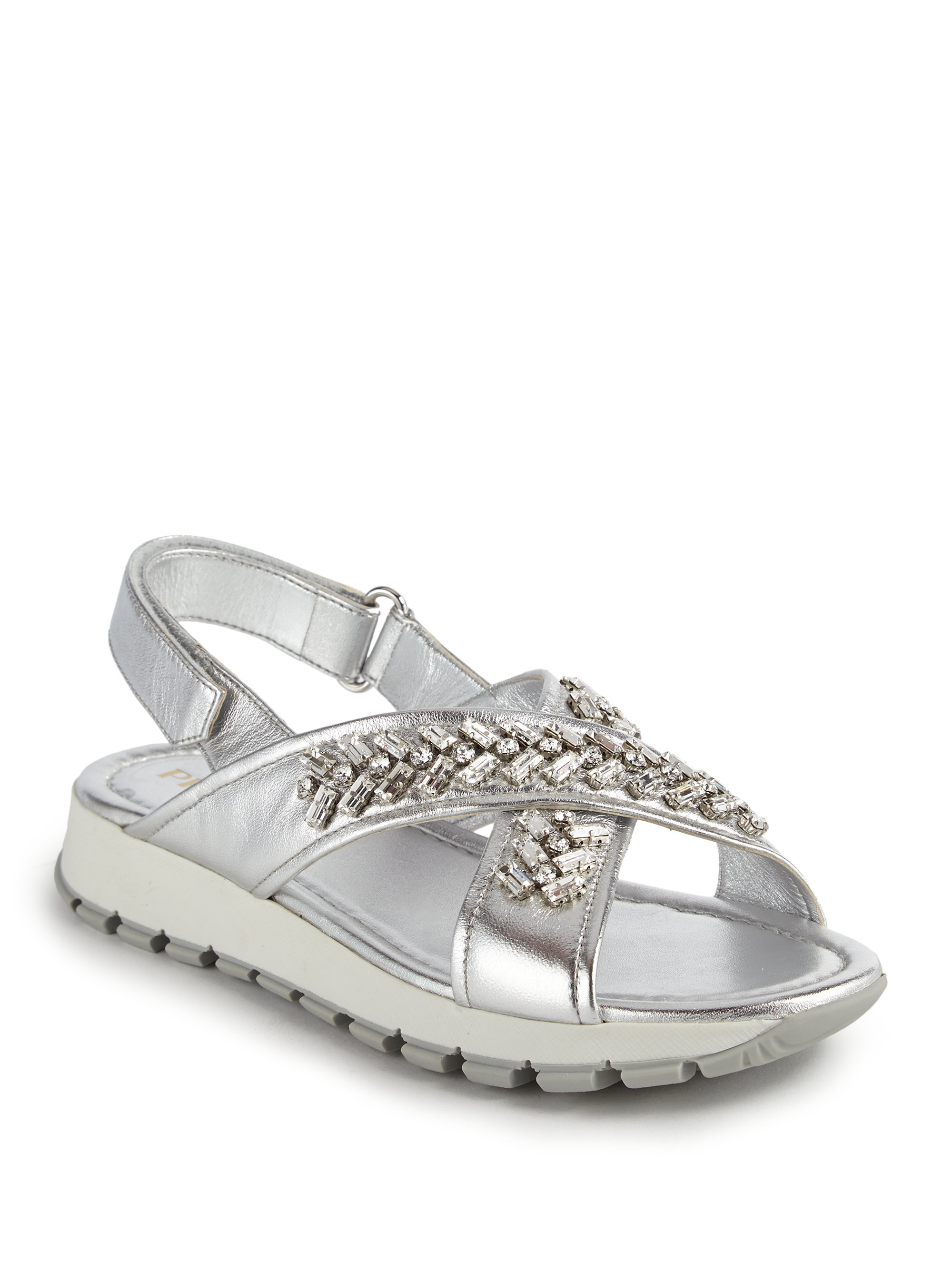 d1a46d33d9132 Lyst - Prada Crystal-embellished Metallic Leather Sandals in Metallic