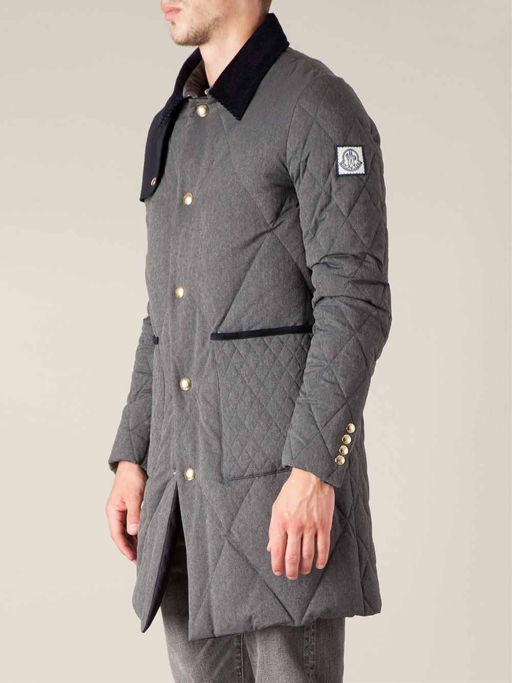 Moncler Gamme Bleu Padded Trench Coat In Gray For Men Lyst
