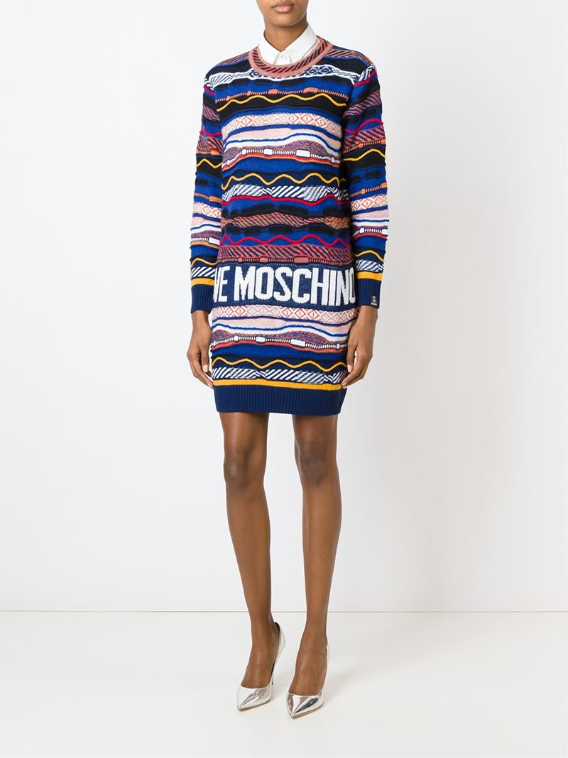 364b569369b Love Moschino Intarsia Logo Print Long Sweater Dress - Lyst