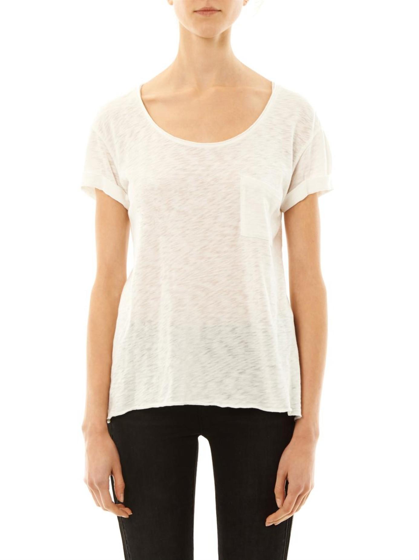 Rag bone the pocket t shirt in white lyst for Rag and bone white t shirt