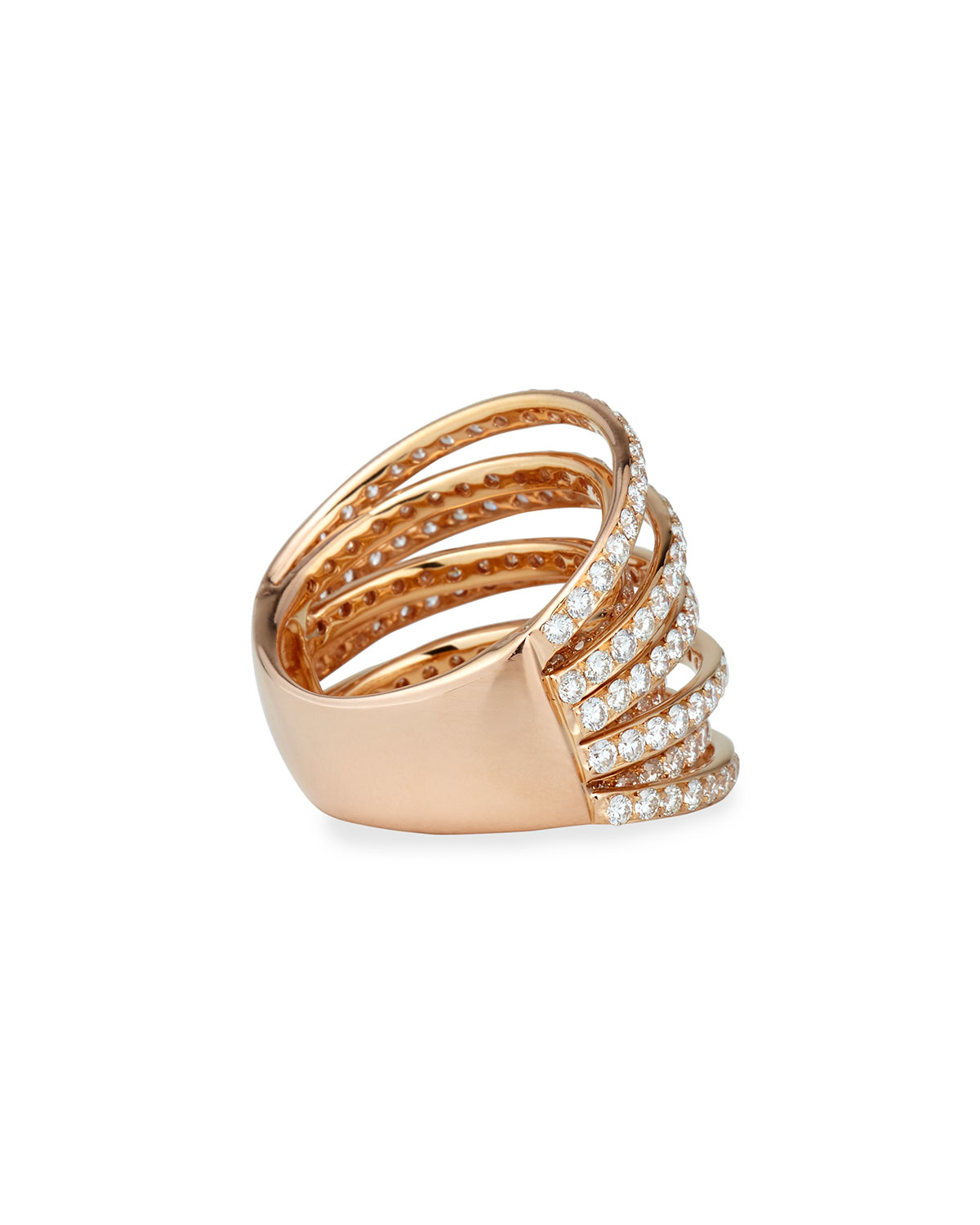 Bessa 18K Rose Gold Three-Row Ring with Diamonds tjEkdAi5C