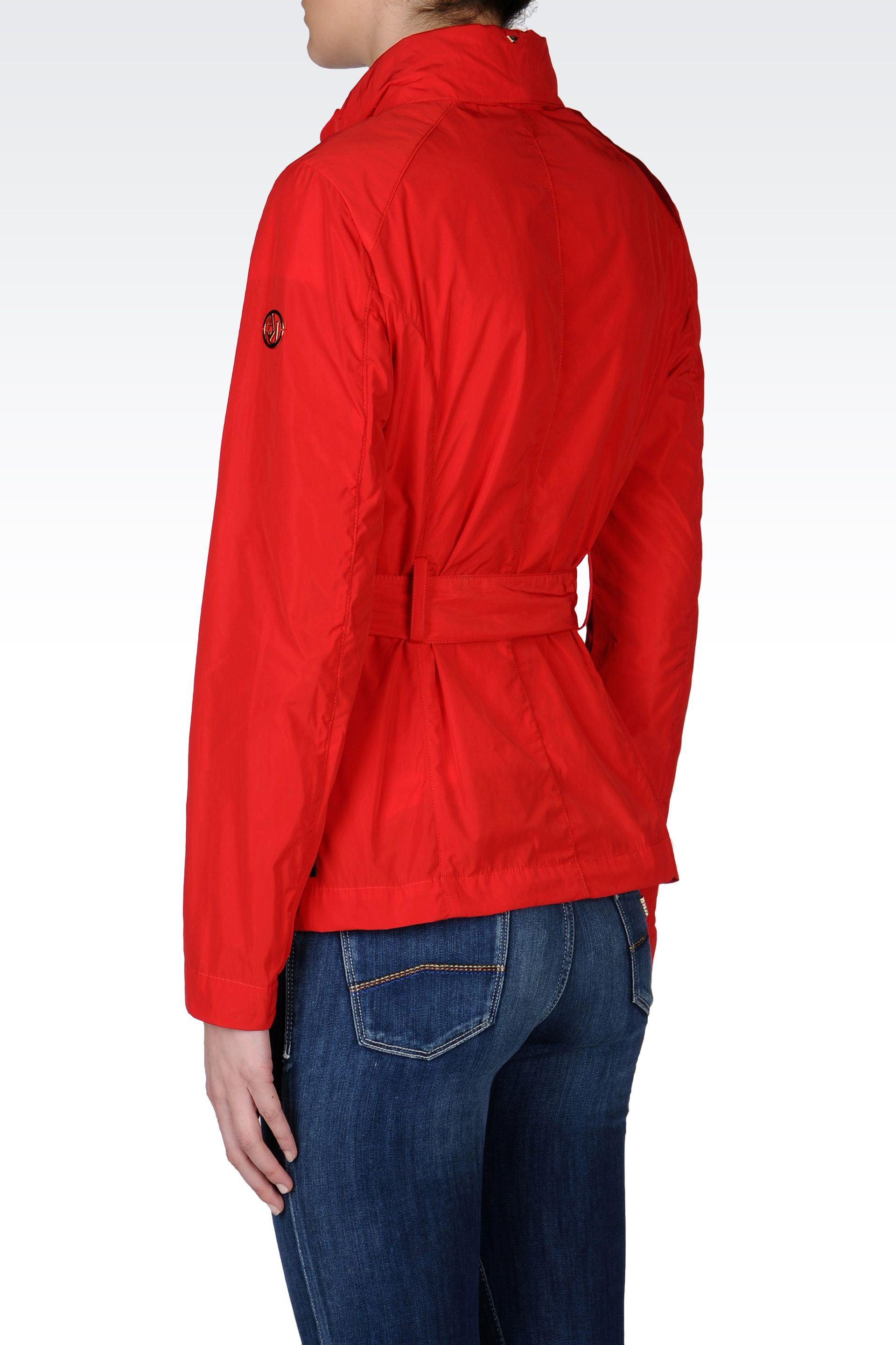 Armani jeans Full Zip Short Pea Coat with Hood in Red | Lyst