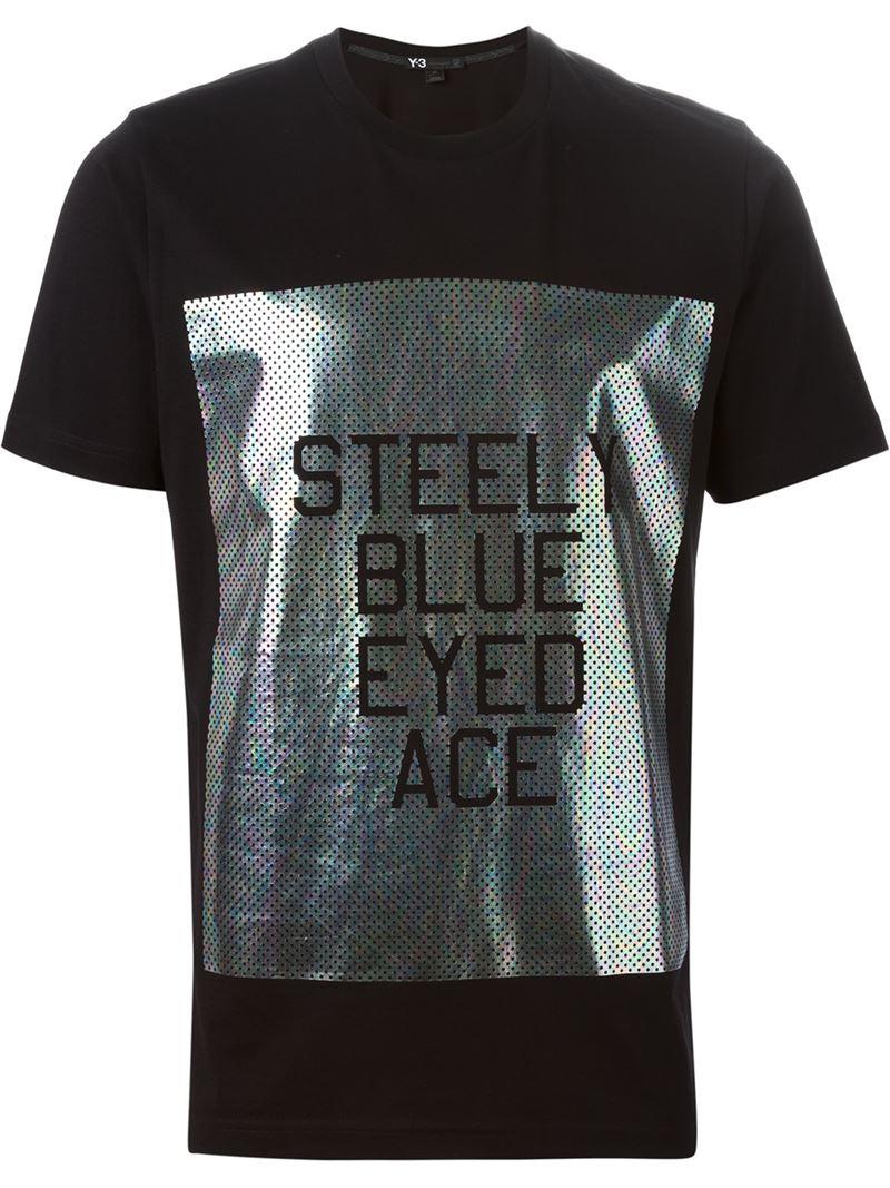 Y 3 adidas x foil print t shirt in black for men lyst for Foil print t shirts custom