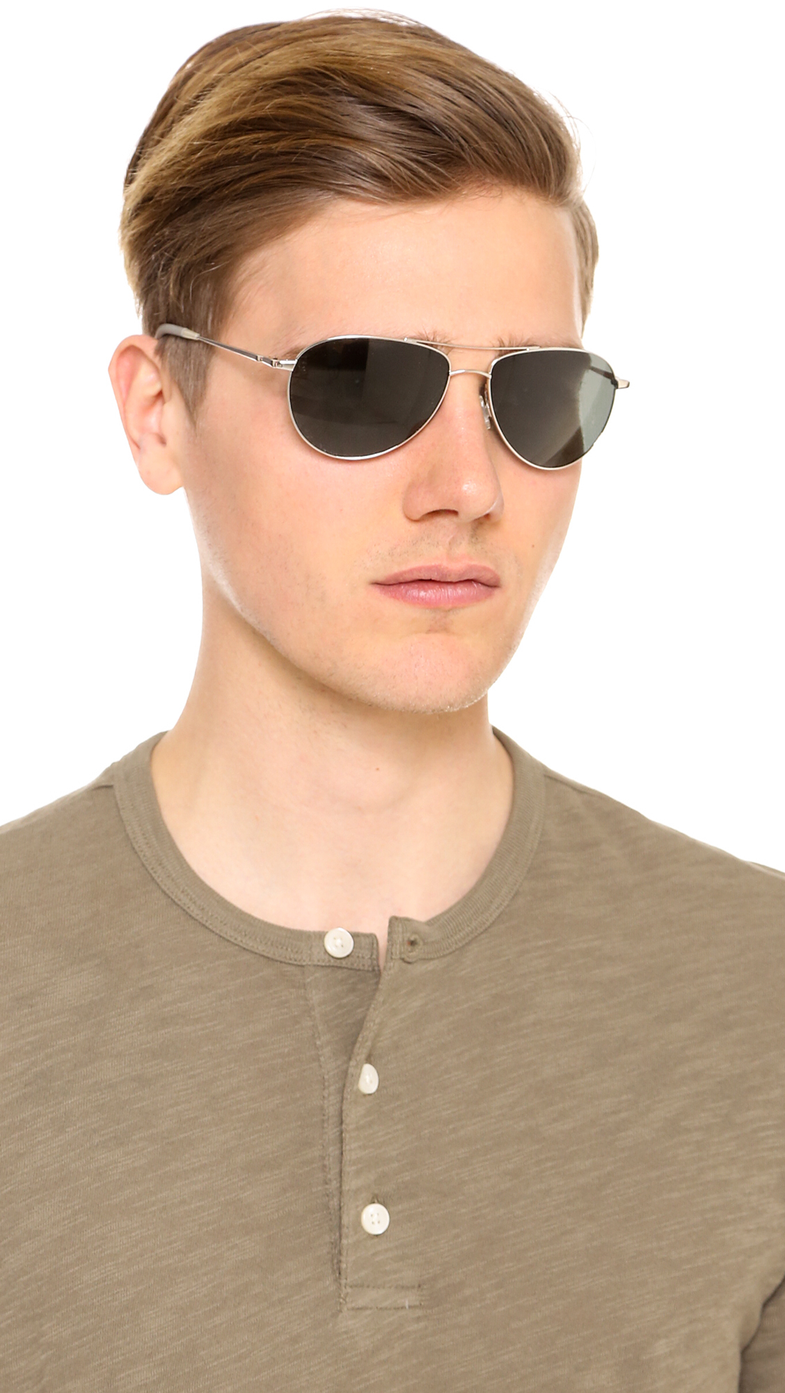 1b5e22efbf3 Lyst - Oliver Peoples Benedict Polarized Sunglasses in Metallic for Men