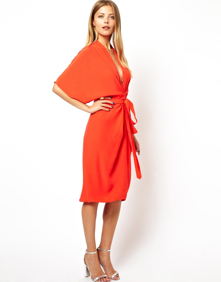 efb69481dfe ASOS Midi Dress with Obi Belt in Red - Lyst