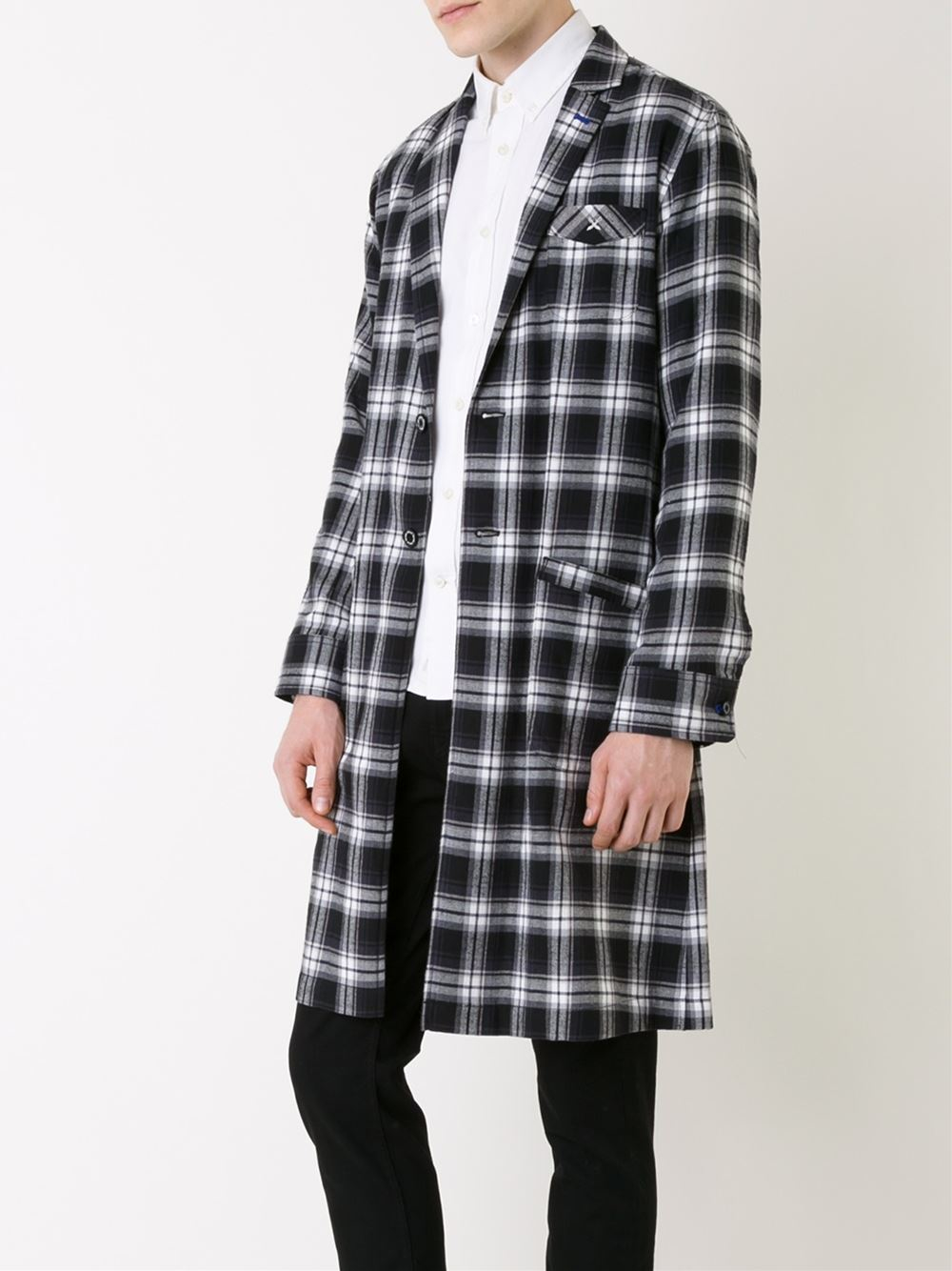 Well-known Lyst - Guild Prime Flannel Plaid Belted Coat in Black for Men YC05